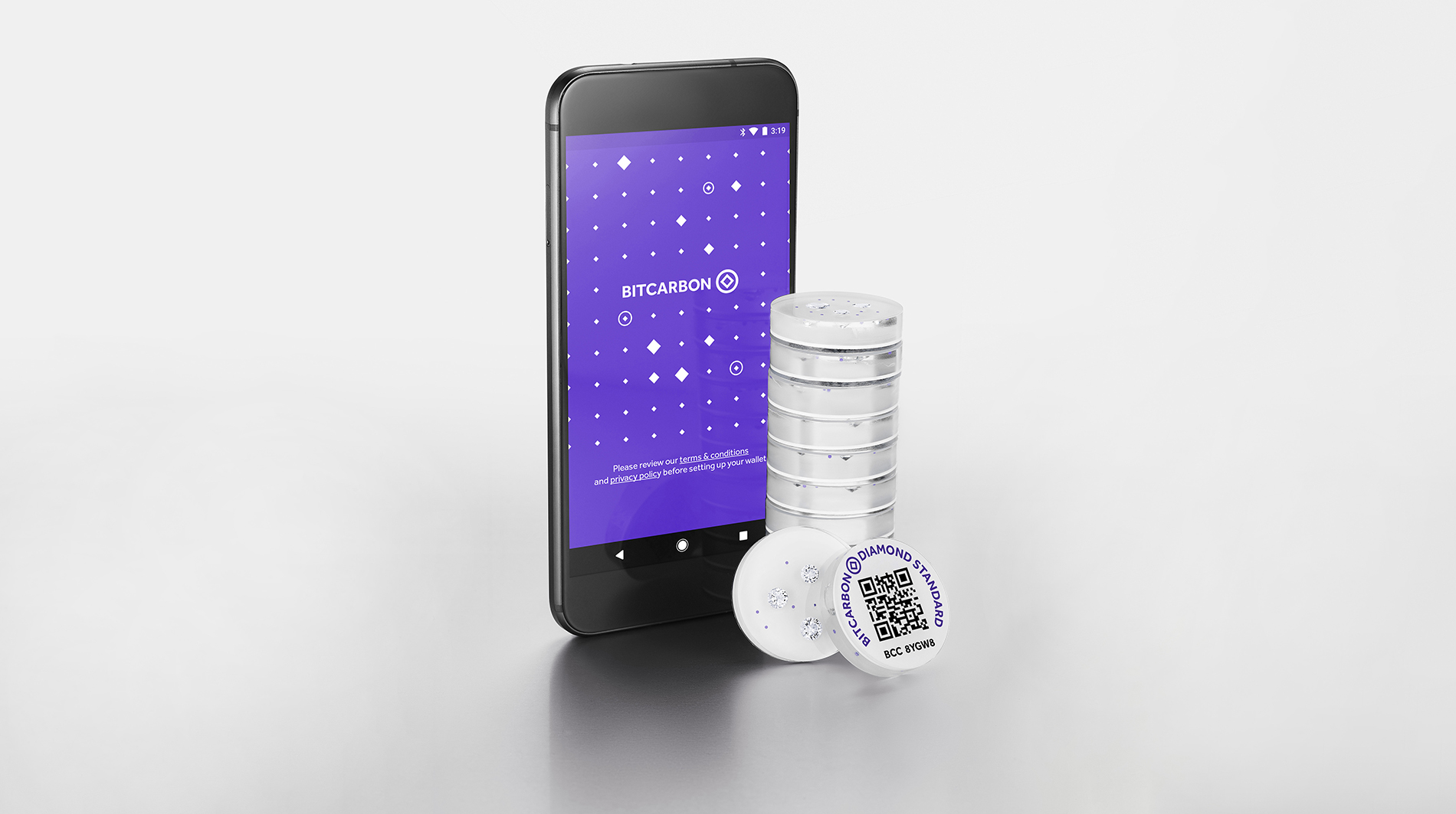 Diamond Standard Coins can be held by hundreds of custodians worldwide in smart cabinets, which audit them constantly, and enable owners to transact them remotely using the Bitcarbon token. Held offline by the owner they can still be traded using a smartphone.