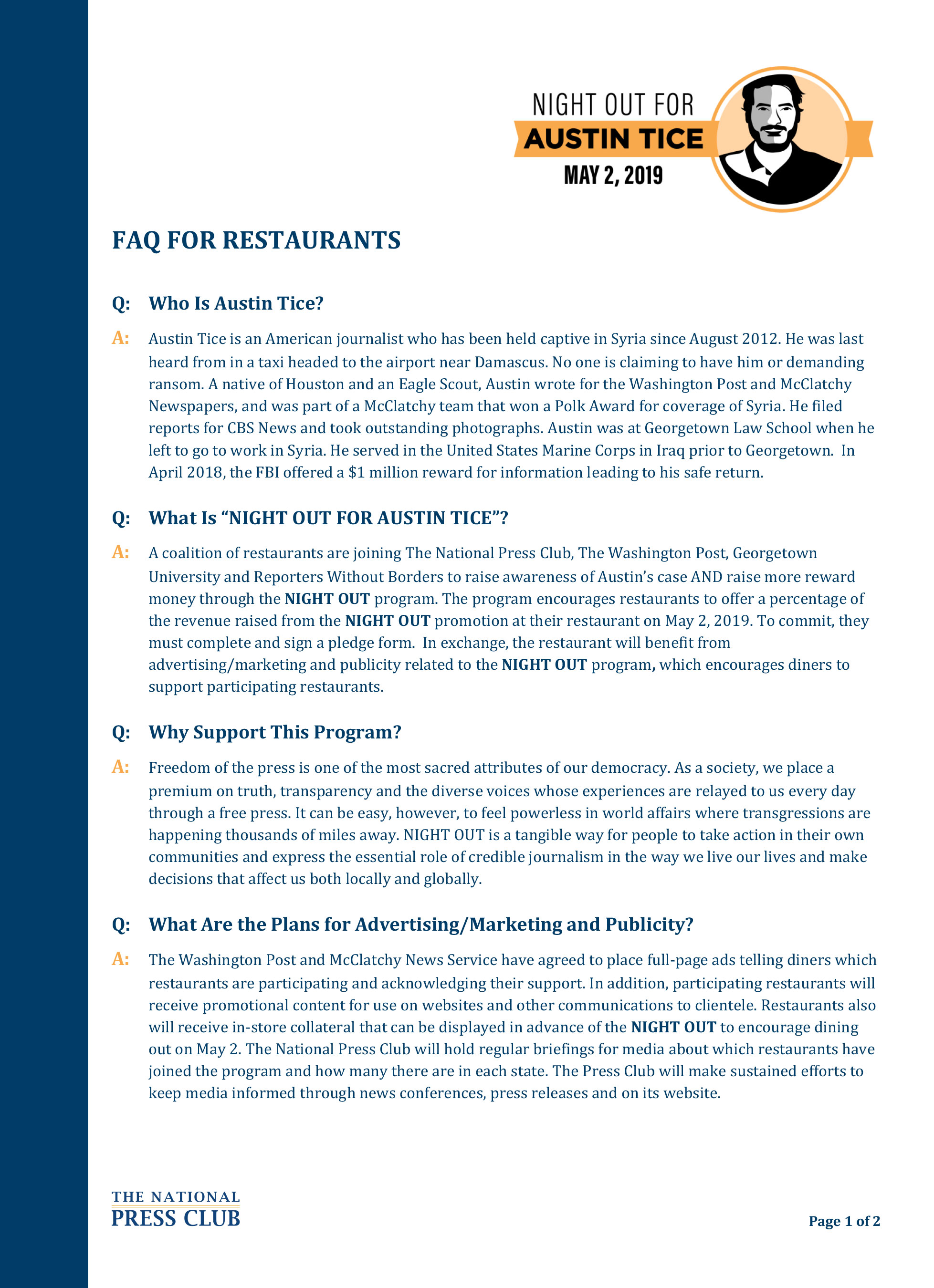 Download: Night Out For Austin Tice FAQs
