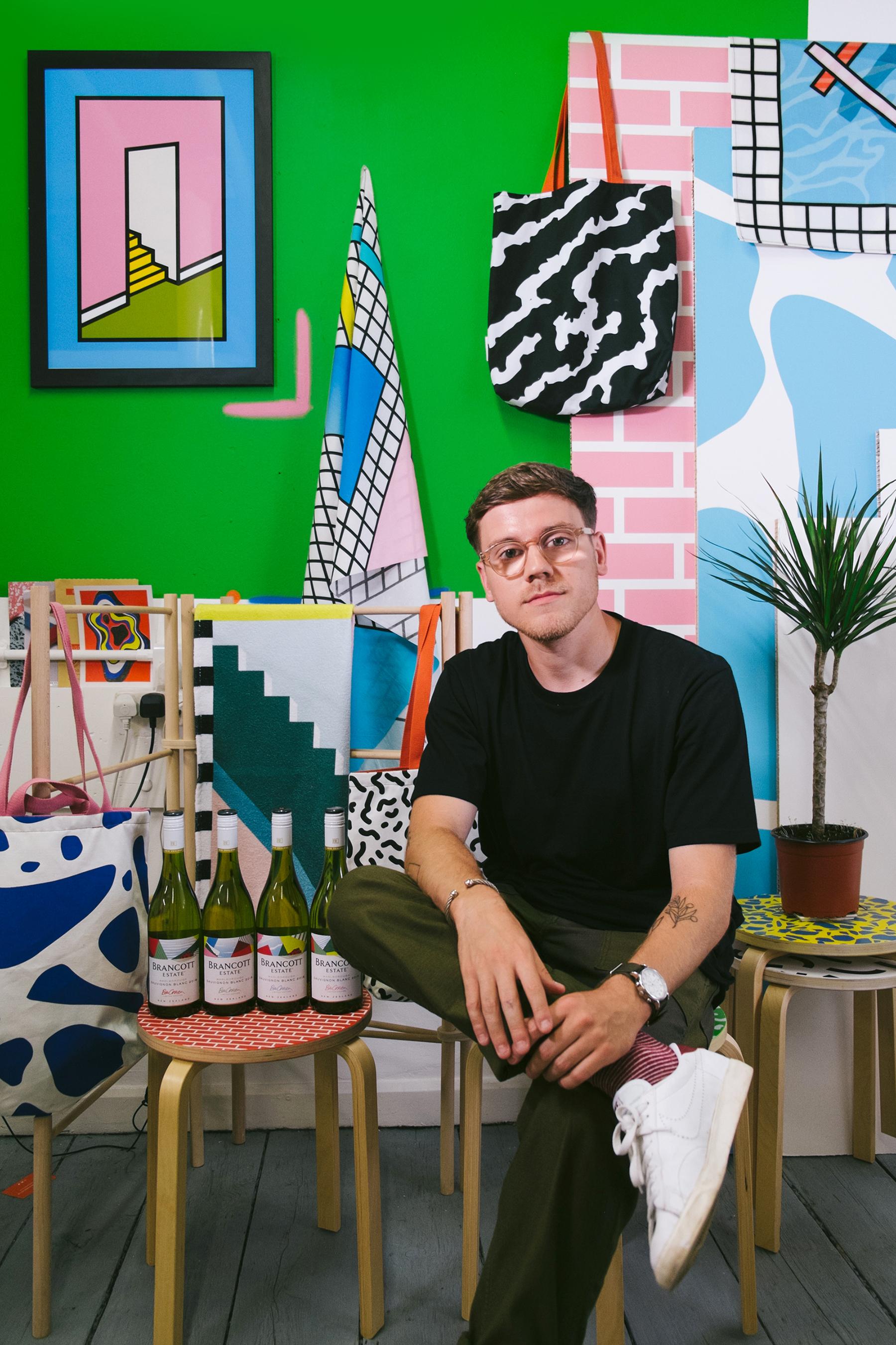 Benjamin Craven in his studio with Brancott Estate Limited Edition bottles