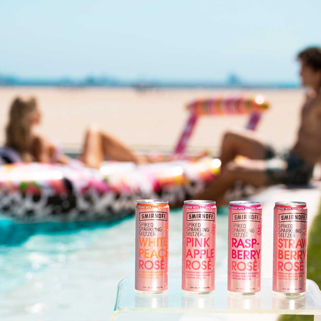 Smirnoff Seltzer and FUNBOY collaborated with acclaimed artist Jason Woodside to design this one-of-a-kind hydroplane pool float, inspired by the delicious Smirnoff Seltzer flavors.