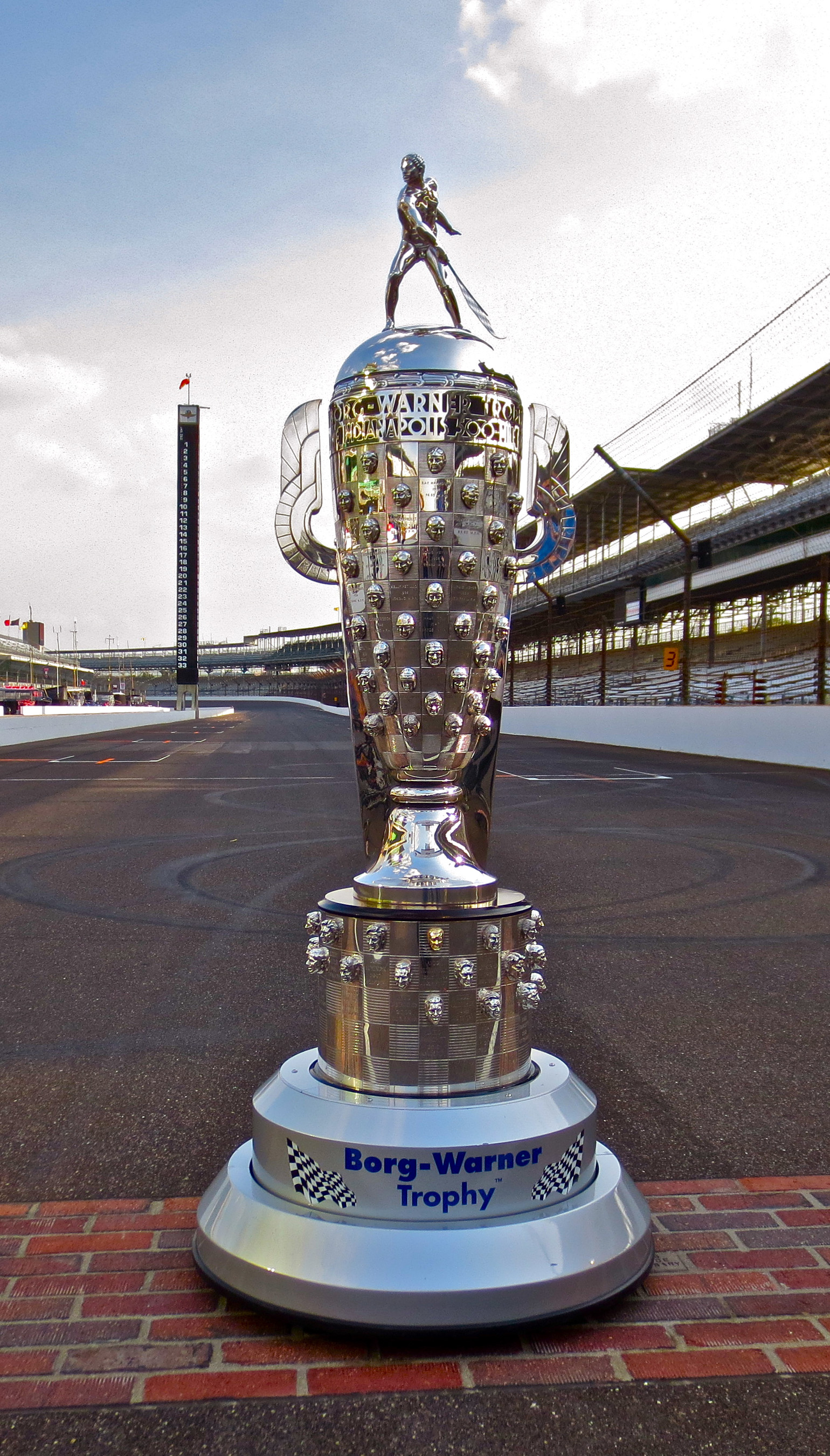 The Borg-Warner Trophy® on the yard of bricks at Indianapolis Motor Speedway.