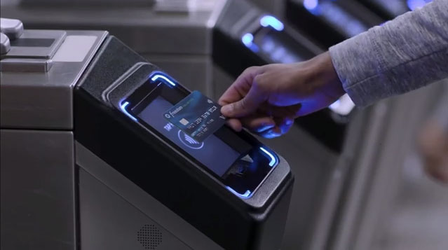 Tap to pay with Chase Visa contactless cards at NYC transit B-roll