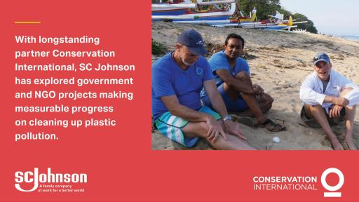 Men on a beach talking about plastic pollution
