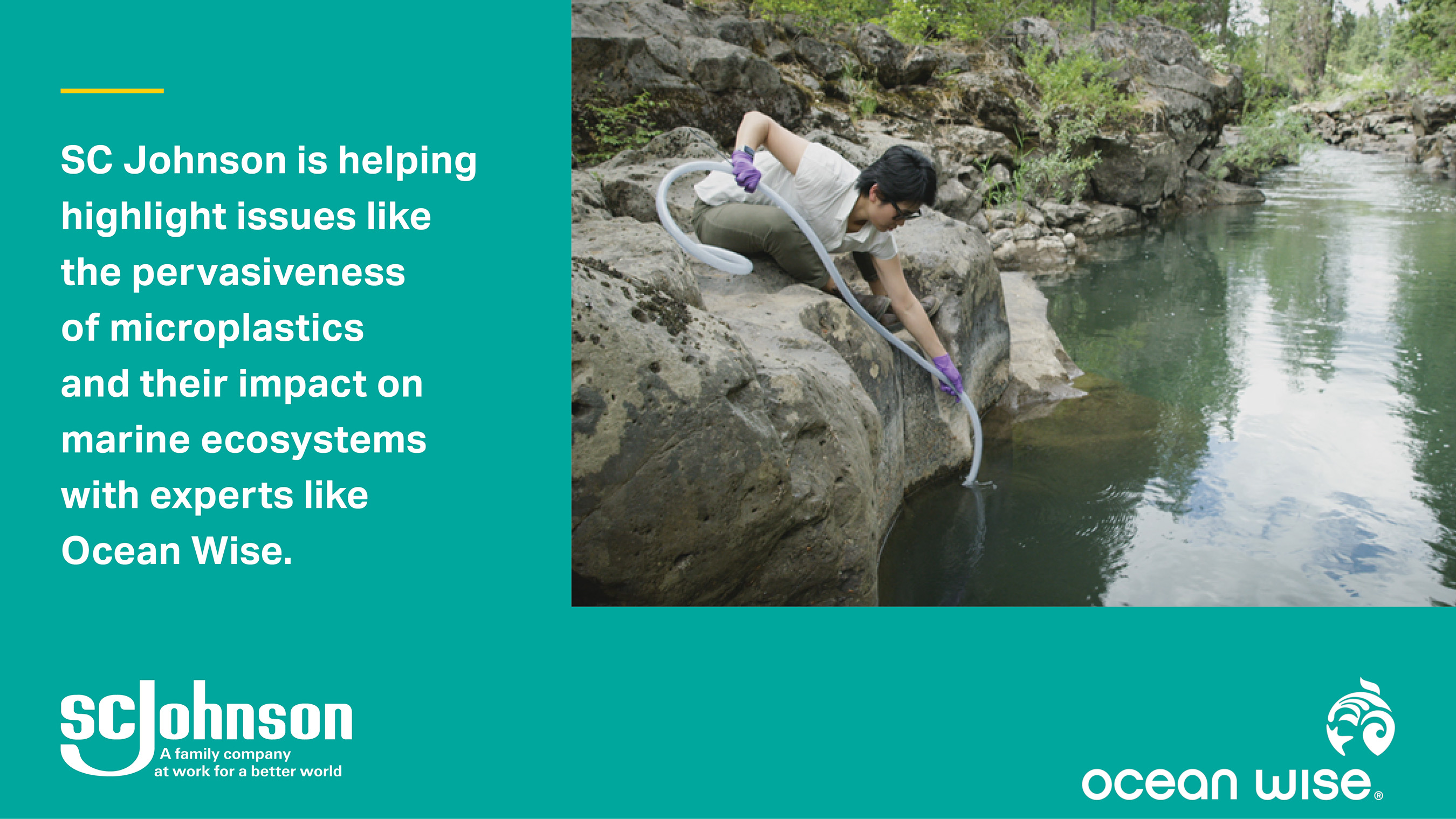 A scientist from Ocean Wise tests a river for microplastics.