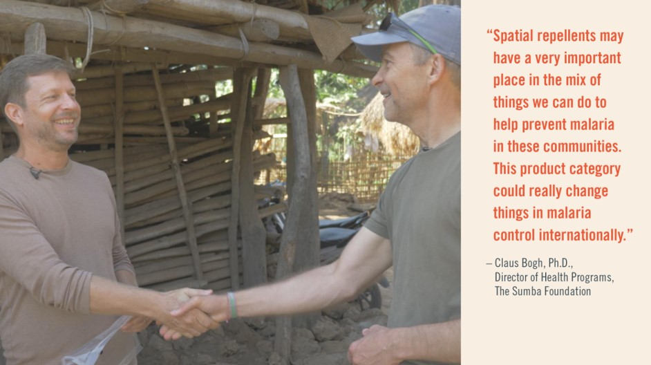 Claus Bogh, Ph.D., meets with Fisk Johnson, Ph.D., during a recent visit to a village in Sumba, Indonesia.