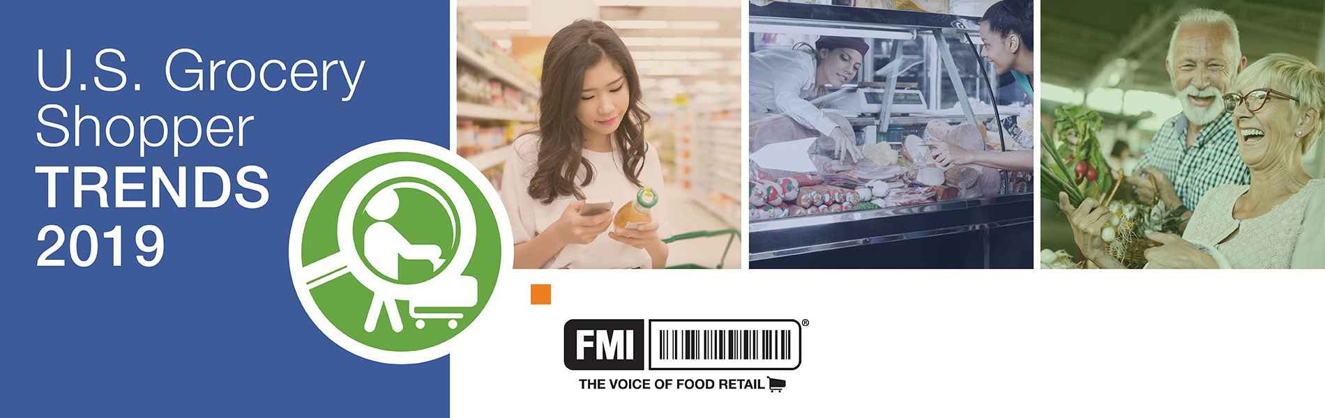 Grocery Shopper Trends 2019 graphic with a collage of grocery shoppers.