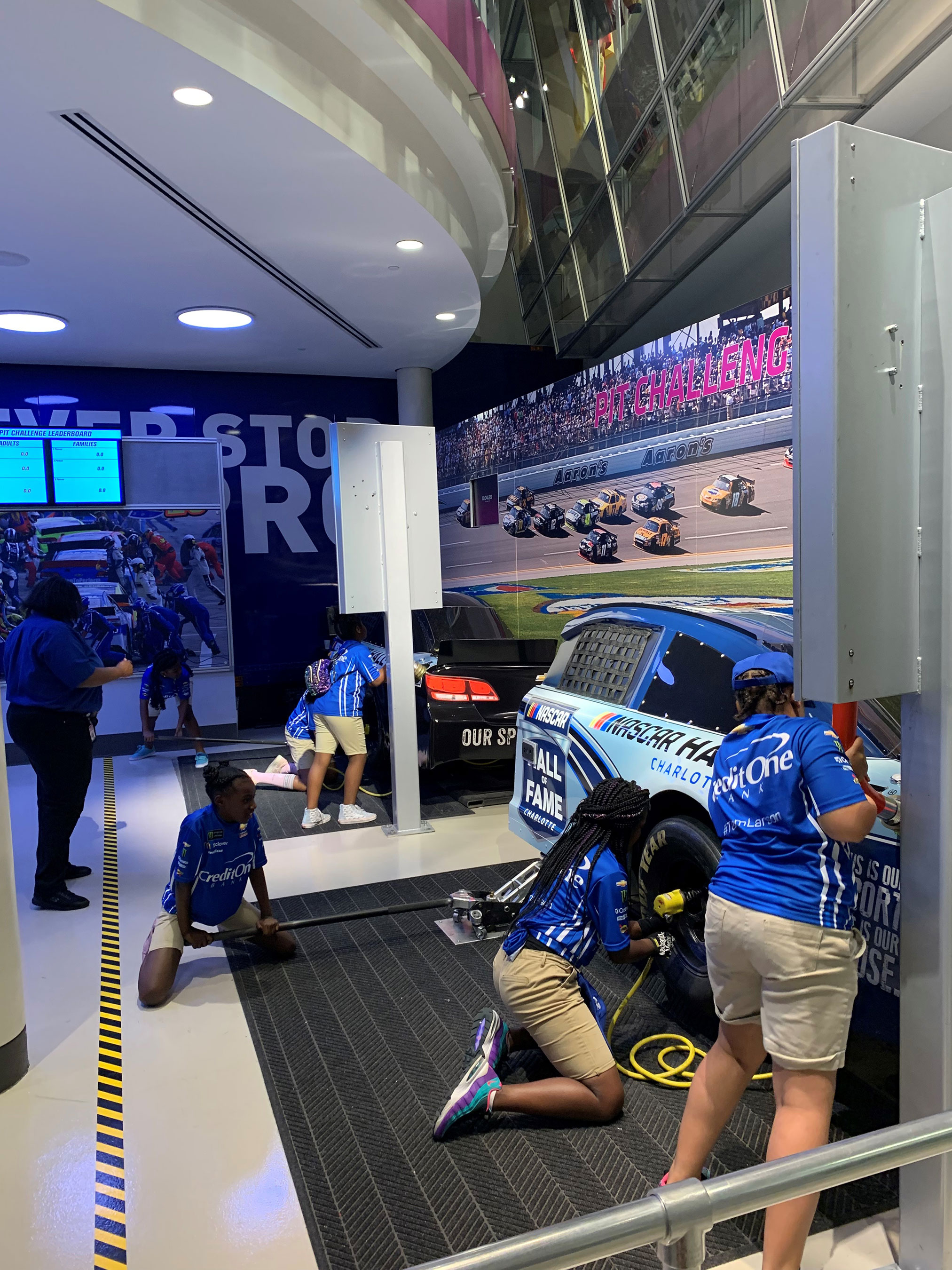 Students from Meeting Street Academy put their pit crew skills to the test at the NASCAR Hall Of Fame