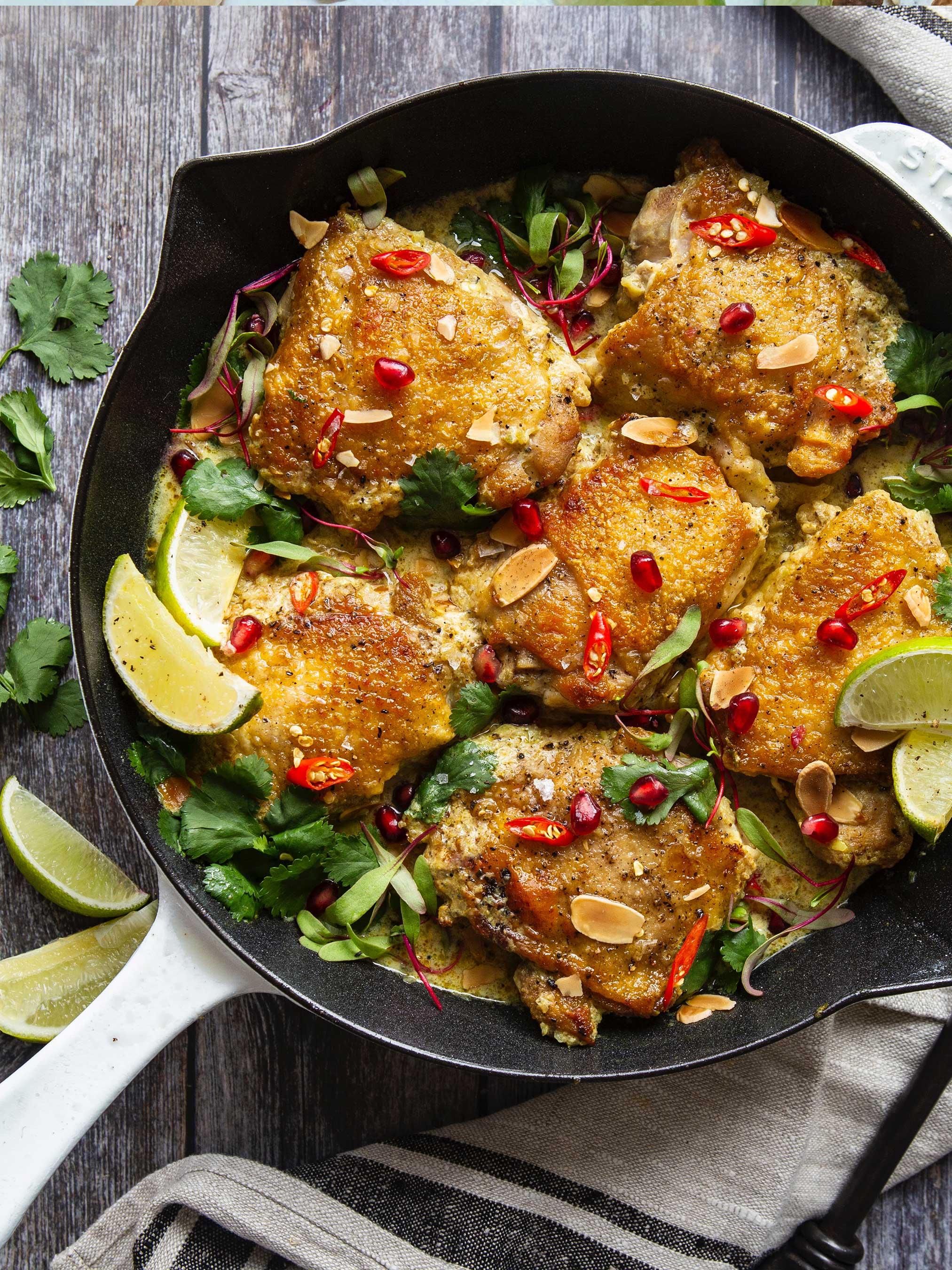Crispy Chicken Thighs with Almond Milk Curry