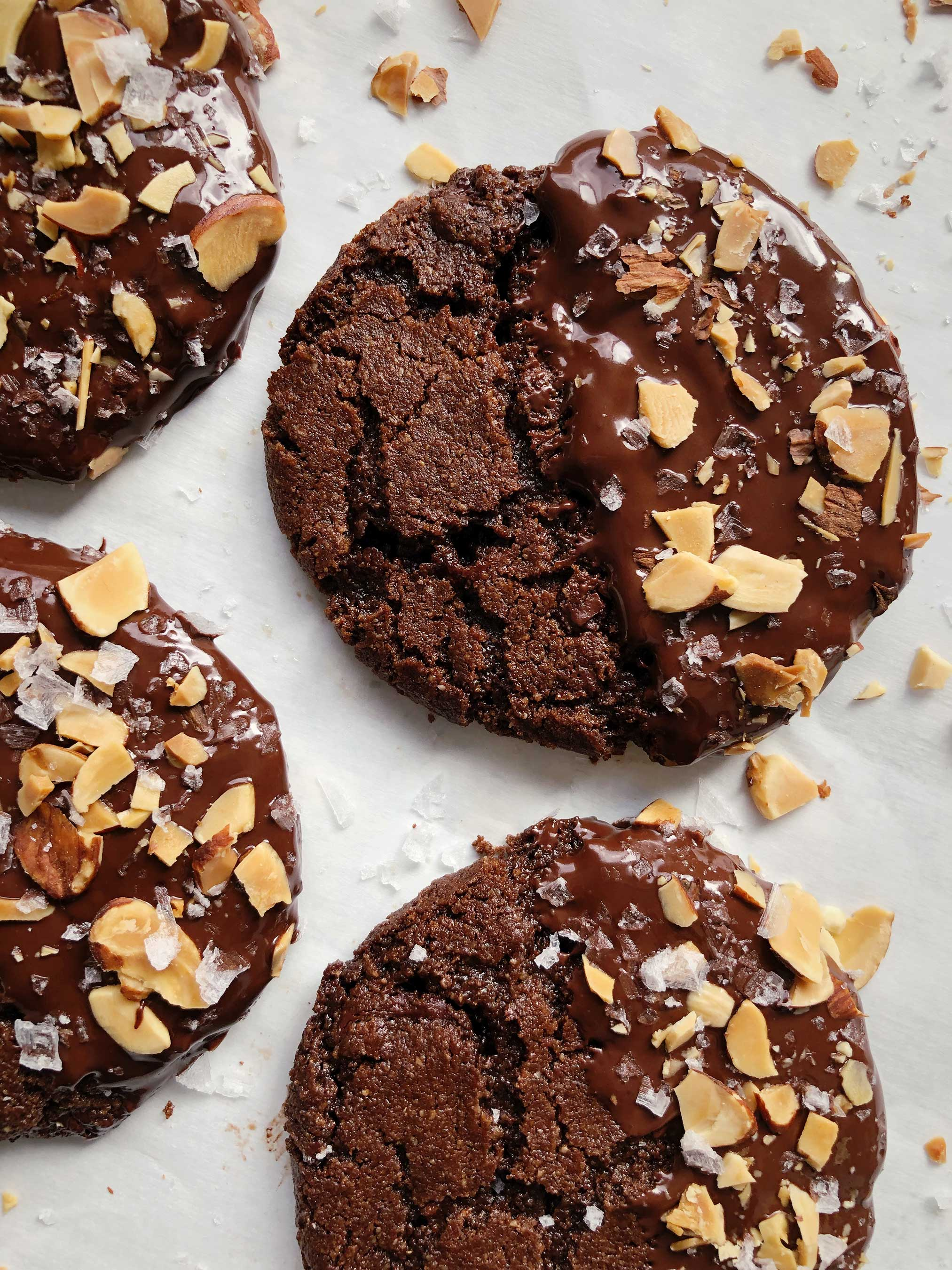 Salted Dark Chocolate Almond Milk Cookies with Toasted Almonds