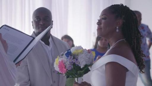 Play Video: Footage from Kadeem and Tenniel's wedding ceremony.