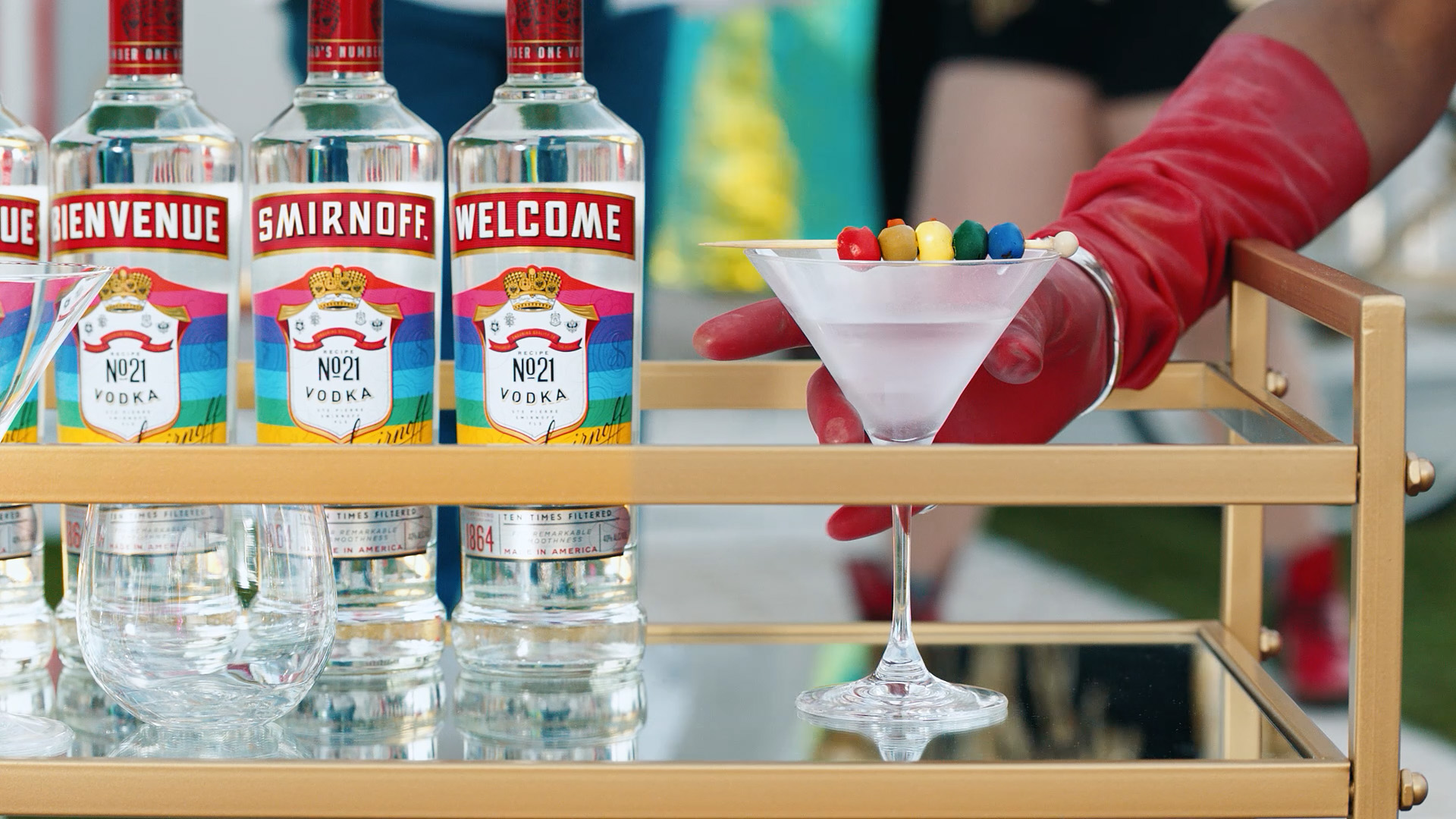 """The LGBTini from Russia is made with 1.5 oz Smirnoff No. 21 Vodka or Smirnoff """"Love Wins"""" Vodka, .25 oz Dry Vermouth and 5 Green olives."""