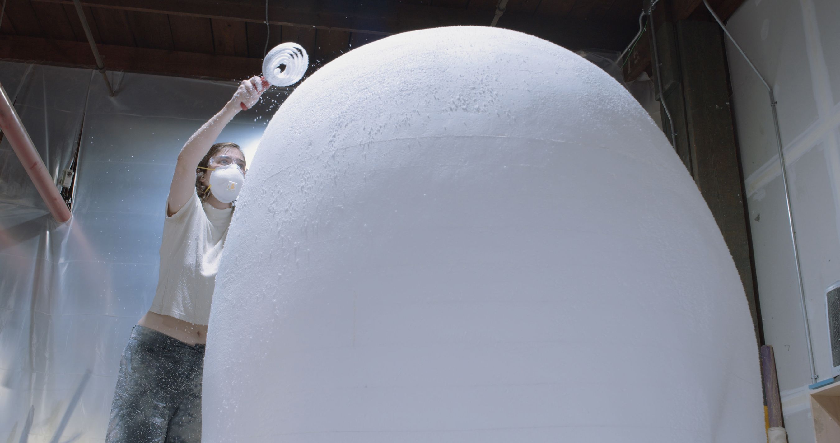 A behind the scenes look of Dan Lam's blob-like sculptures in the making.
