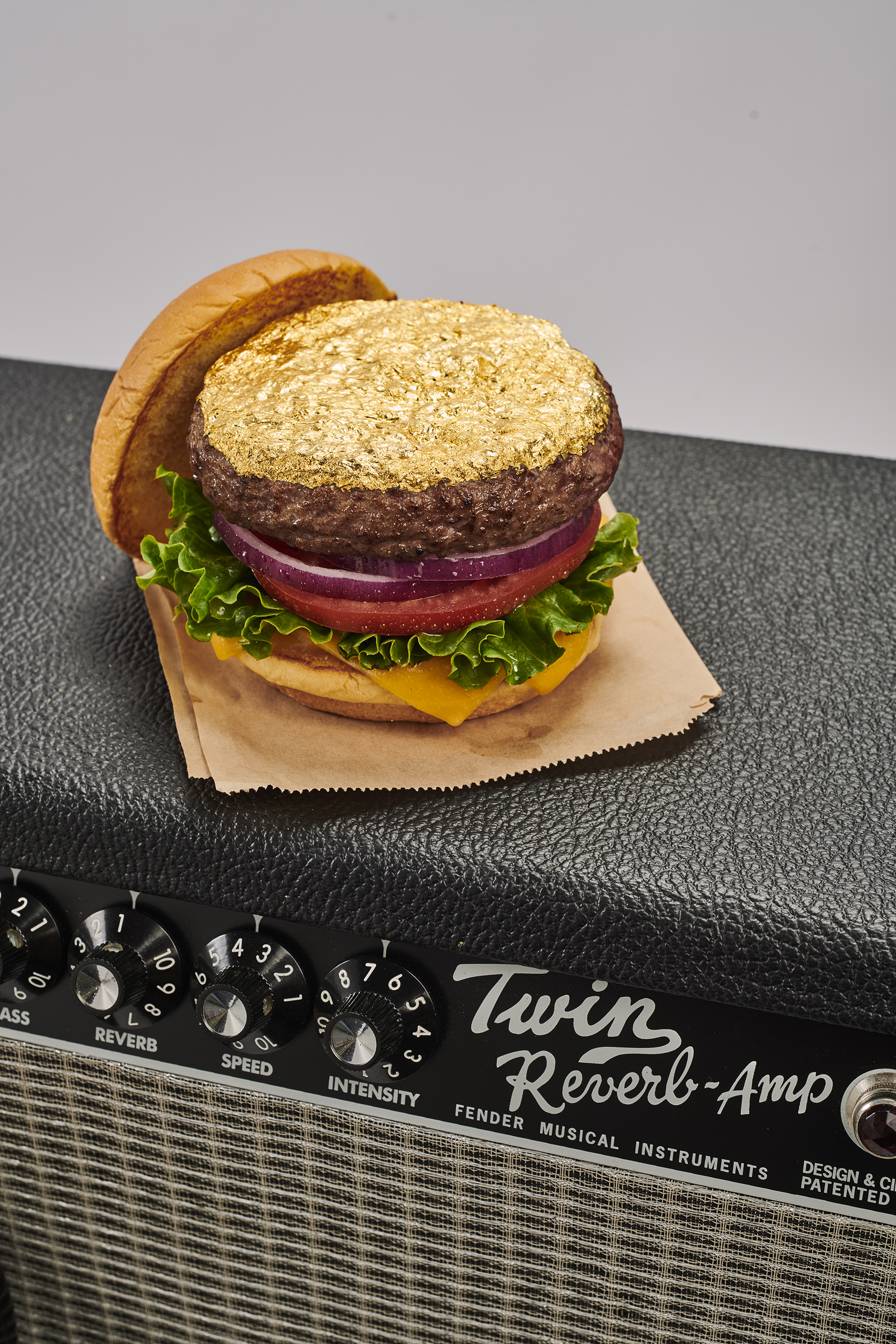 "Hard Rock Cafe's burger powered guitar uses the star of the brand's new menu, The 24-Karat Gold Leaf Steak Burger(TM), to create the music for ""The Golden Solo""."
