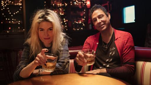 The Kills, made up of Alison Mosshart and Jamie Hince having a drink