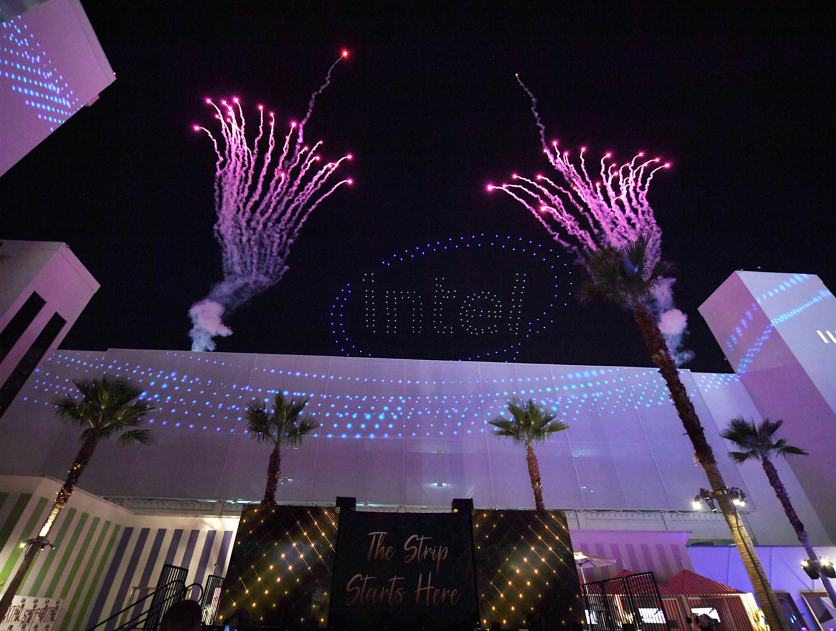 Guests gather for an unexpected, custom-designed Intel drone light show that would debut the new SAHARA Las Vegas light show.
