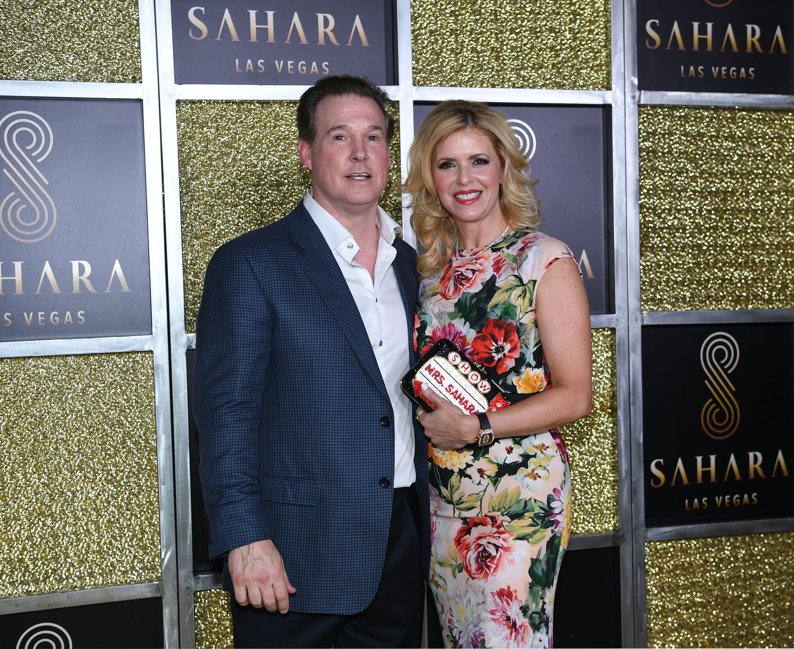 Alex Meruelo, owner of SAHARA Las Vegas, accompanied by his wife, Liset, stop for photos during an exclusive unveiling event of the new SAHARA Las Vegas.