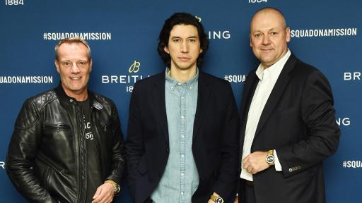 Stuart Garner, Adam Driver and Thierry Prissert at the Breitling Premier Norton Edition Event in New York standing together for a photo