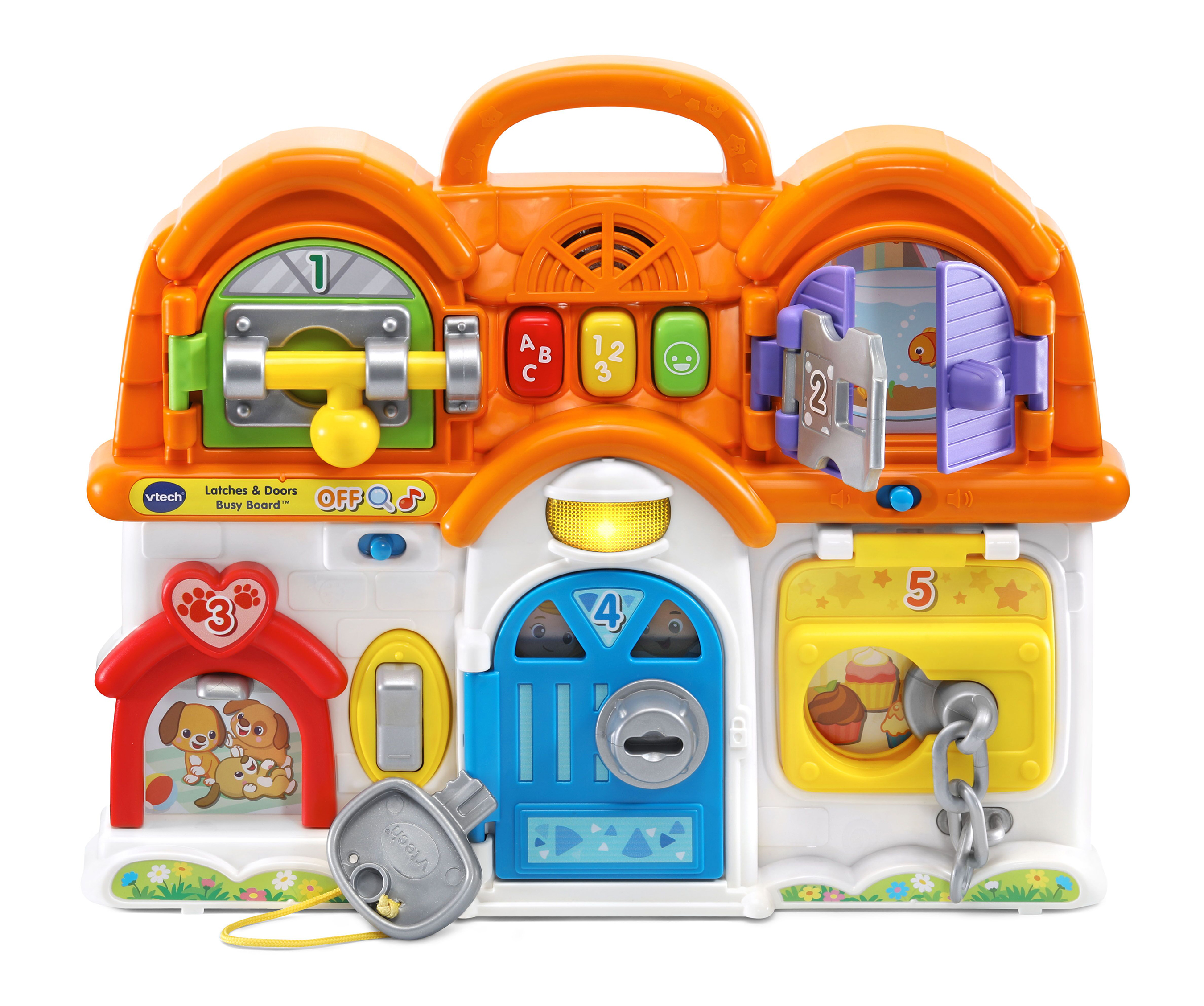 VTech® announces the availability of new infant, toddler and preschool toys, including the Latches & Doors Busy Board™.
