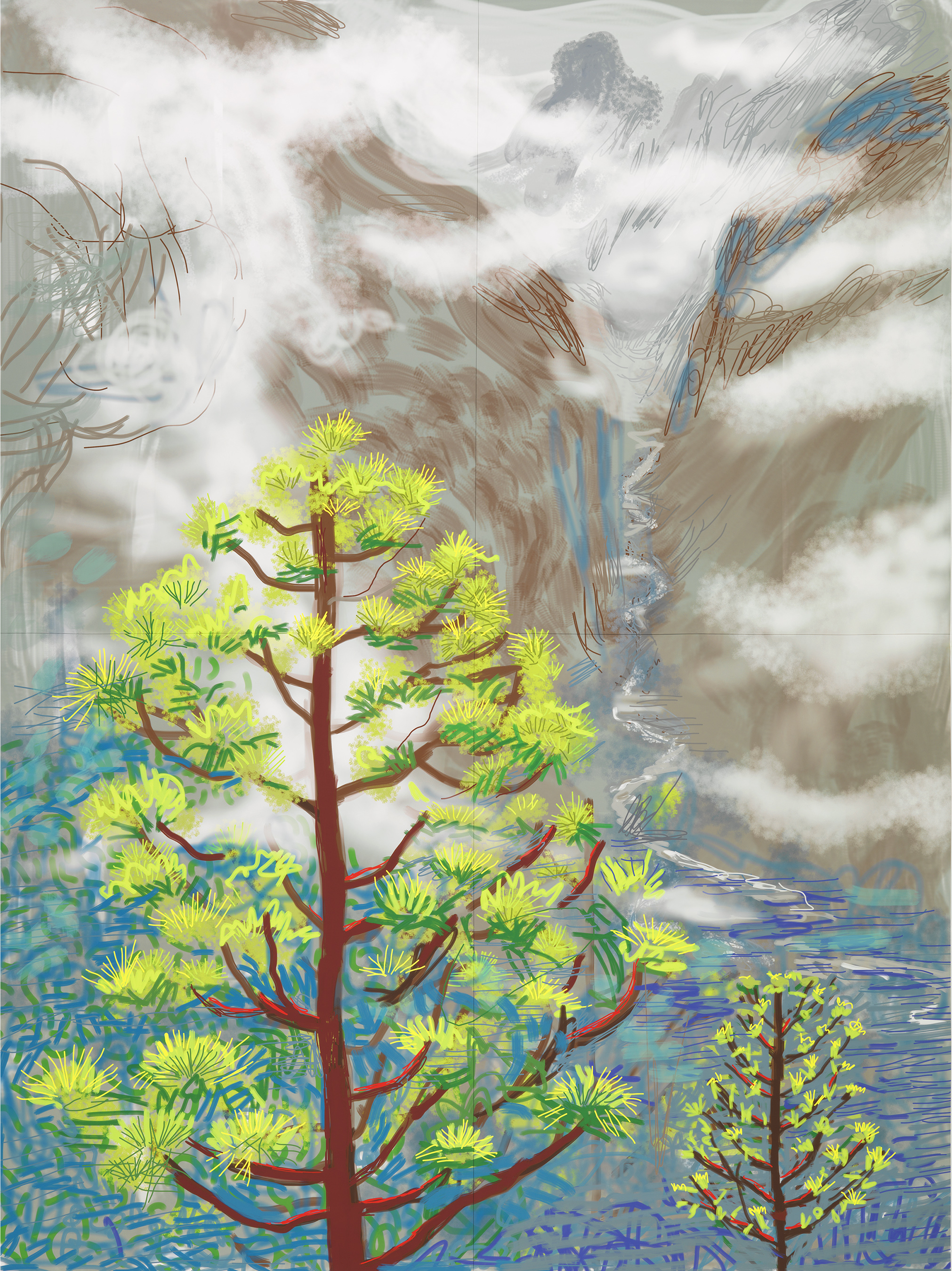 """Yosemite I, October 5th 2011"" iPad drawing printed on four sheets of paper (46 3/8 x 34 7/8"" each), mounted on four sheets of Dibond Edition 1 of 12 92 3/4 x 69 3/4"" overall © David Hockney Photo Credit: Richard Schmidt Collection The David Hockney Foundation"