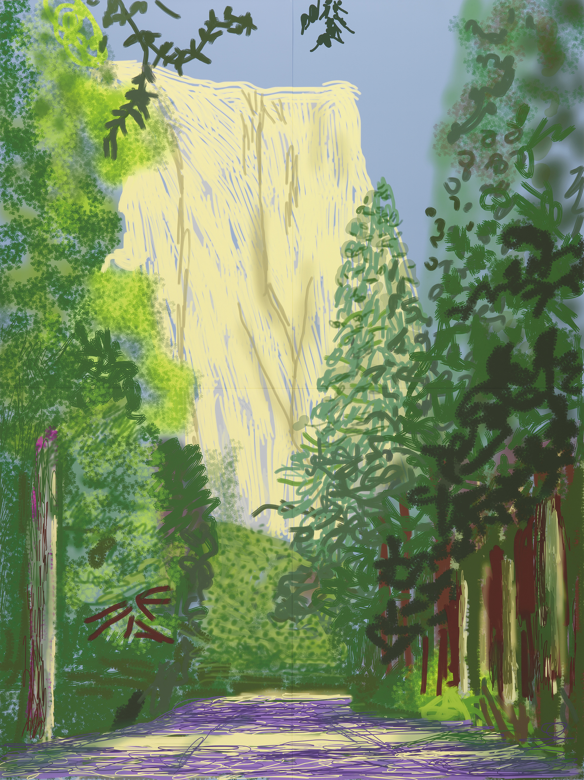 """Yosemite II, October 16th 2011"" iPad drawing printed on four sheets of paper (46 3/8 x 34 7/8"" each), mounted on four sheets of Dibond. Edition 1 of 12; 92 3/4 x 69 3/4"" overall. © David Hockney. Photo Credit: Richard Schmidt. Collection The David Hockney Foundation"