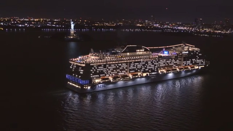 MSC Meraviglia makes her inaugural visit to New York City today, breaking the record for the largest cruise ship to ever port in Manhattan.