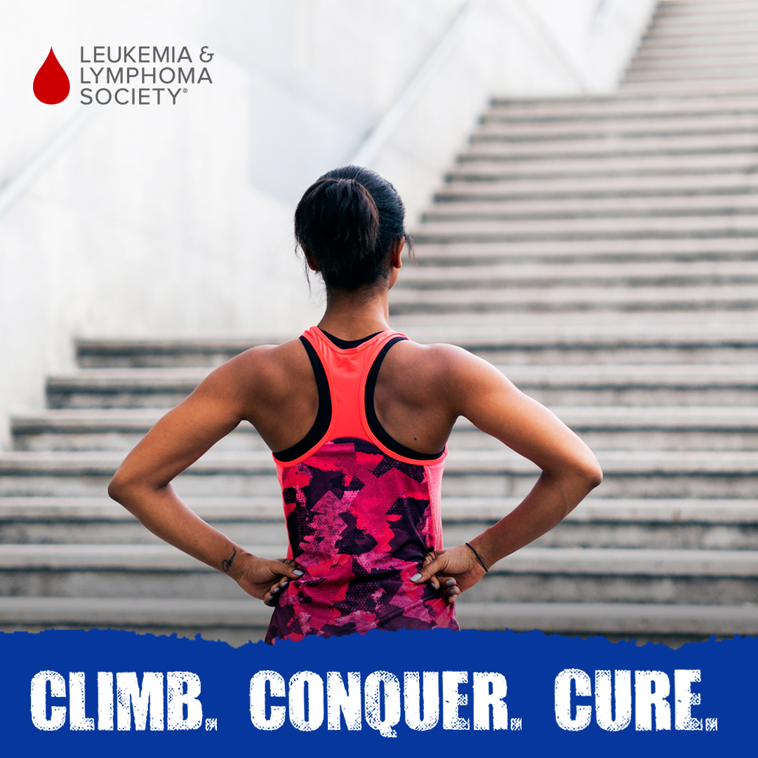 Climb Conquer Cure graphic with a woman looking up from the bottom of stone stairs