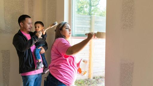 Joselyn Casas, her husband, and son proudly paying it forward by helping First Response and Habitat for Humanity build a new home for another family in need.