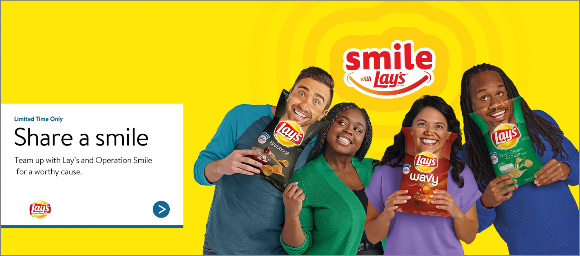 "Lays ""Share a Smile"" banner"