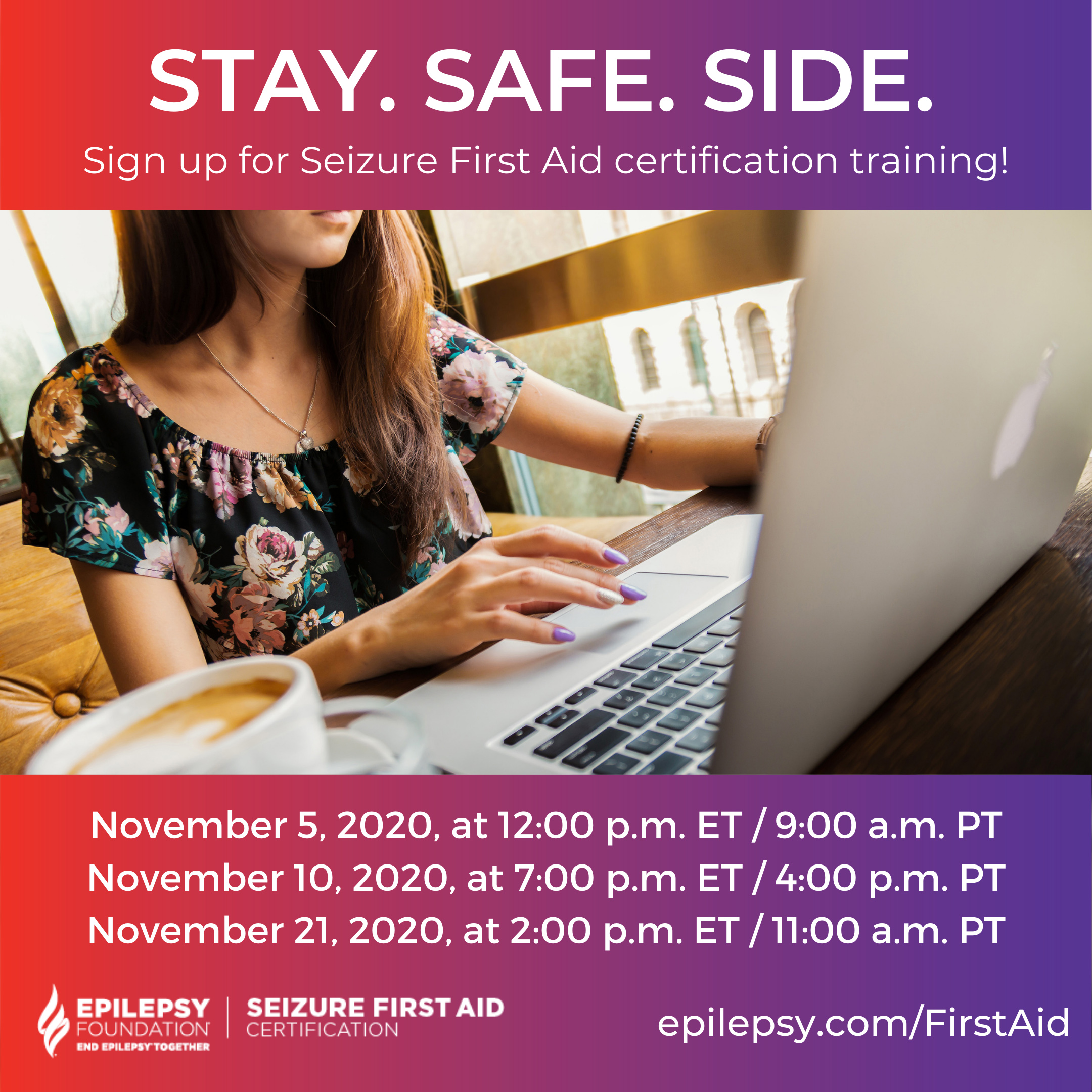 The Epilepsy Foundation is encouraging everyone to get Seizure First Aid certified this November. The Foundation is hoping to train at least 2,020 people during NEAM to increase the knowledge, skills and confidence in recognizing seizures and safely administering seizure first aid.