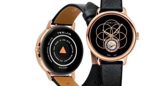 "RE-BALANCE T-2 combines the philosophy of yoga with TESLAR technology. An IP rose gold ""Seed of Life"" motif, known as the universal symbol of creation, stands out against a beautiful black enamel dial."