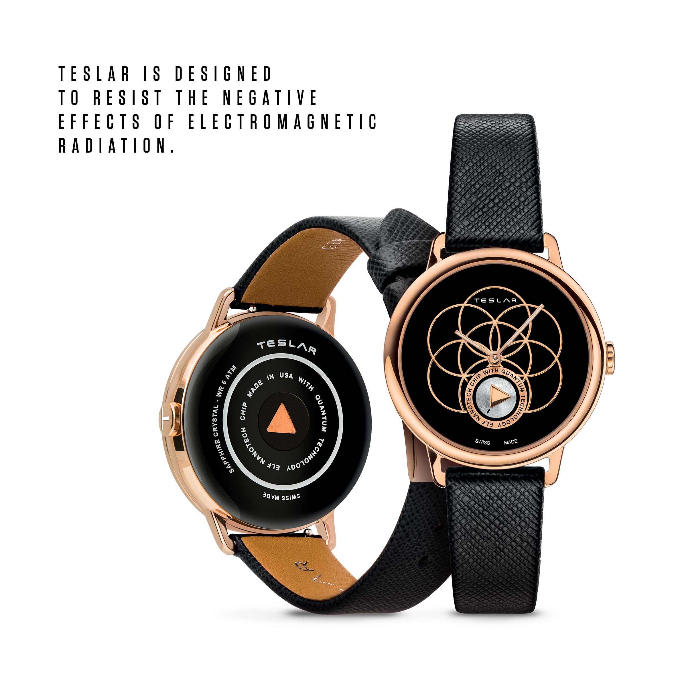 """RE-BALANCE T-2 combines the philosophy of yoga with TESLAR technology. An IP rose gold """"Seed of Life"""" motif, known as the universal symbol of creation, stands out against a beautiful black enamel dial."""
