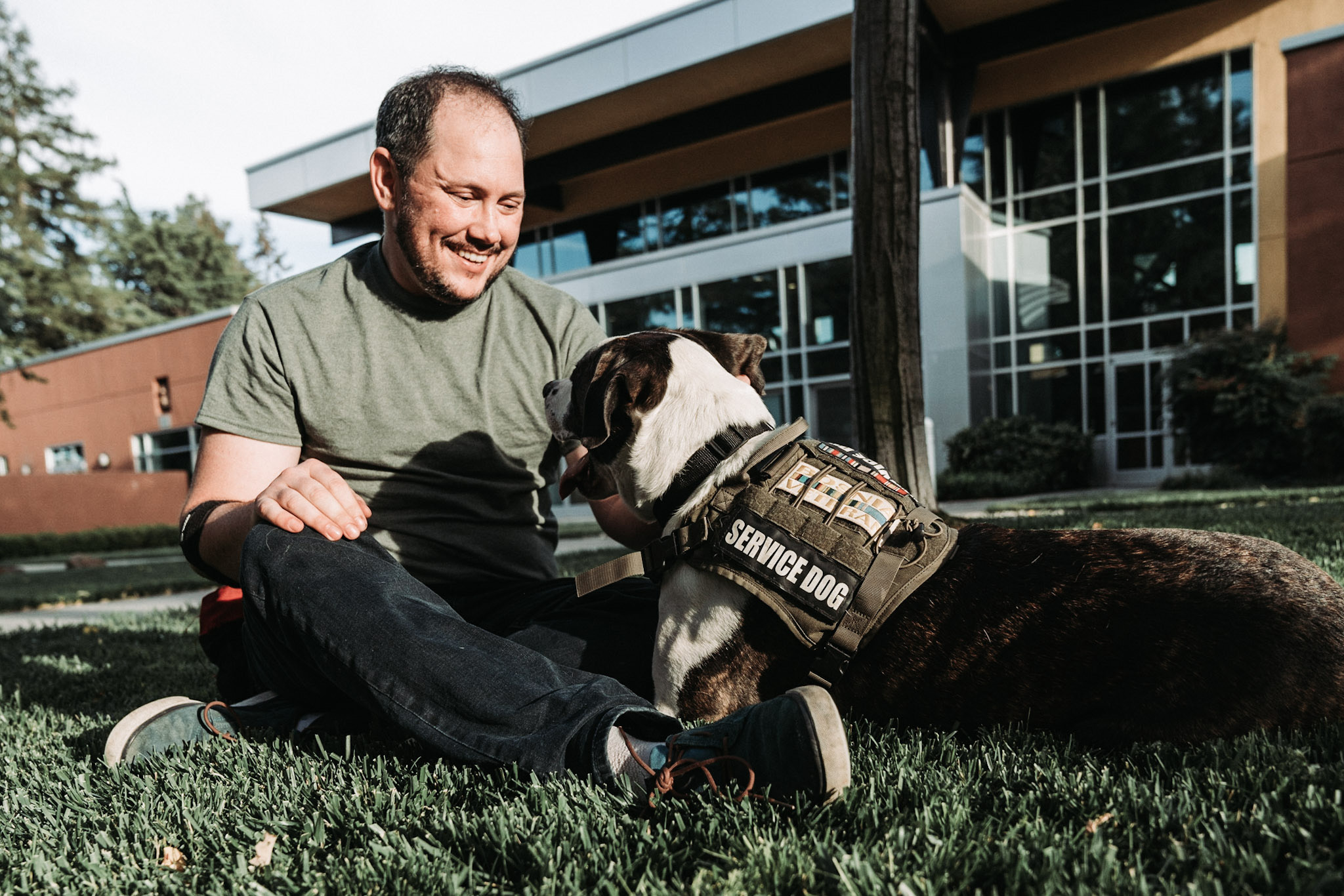 "Ethan, a Navy veteran with his service dog Finnegan. Ethan graduated from Tony La Russa's Animal Rescue Foundation's Pets and Vets program in 2018. ARF has once again partnered with Purina Dog Chow for its second annual ""Service Dog Salute"" campaign to raise awareness on how military veterans suffering from PTSD and their families benefit from having a service dog."