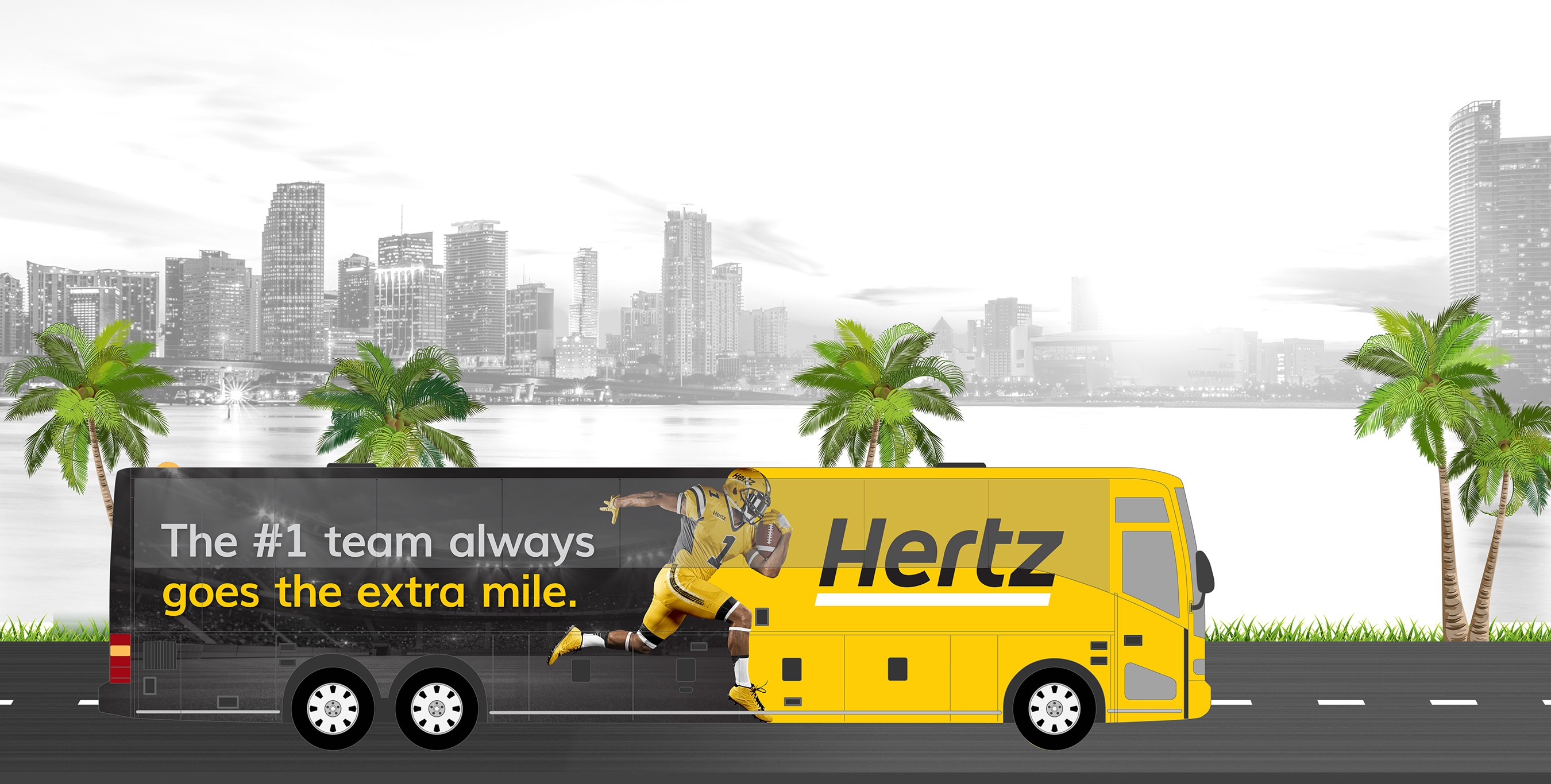 A rendering of the Hertz decked-out bus. Fifty winners and their guests will ride in style to and from the Big Game.