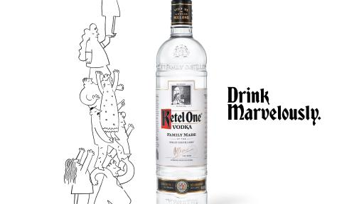 Ketel One add that says drink marvelously with a bottle of vodka by a cartoon drawing of people on top of each other.