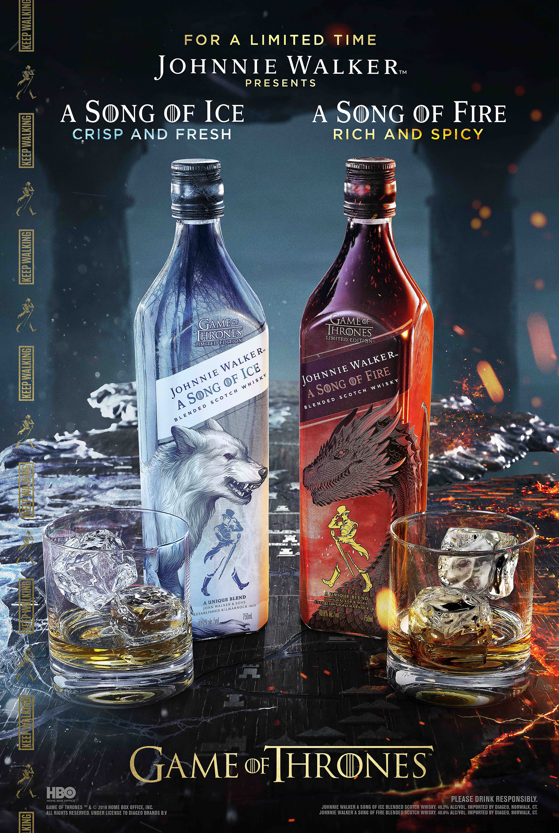 The Johnnie Walker A Song of Ice and A Song of Fire bottles convey the dynamic relationship between House Stark and House Targaryen, represented by their house sigils – the Direwolf and the Dragon – which face-off as a nod to the series storyline.