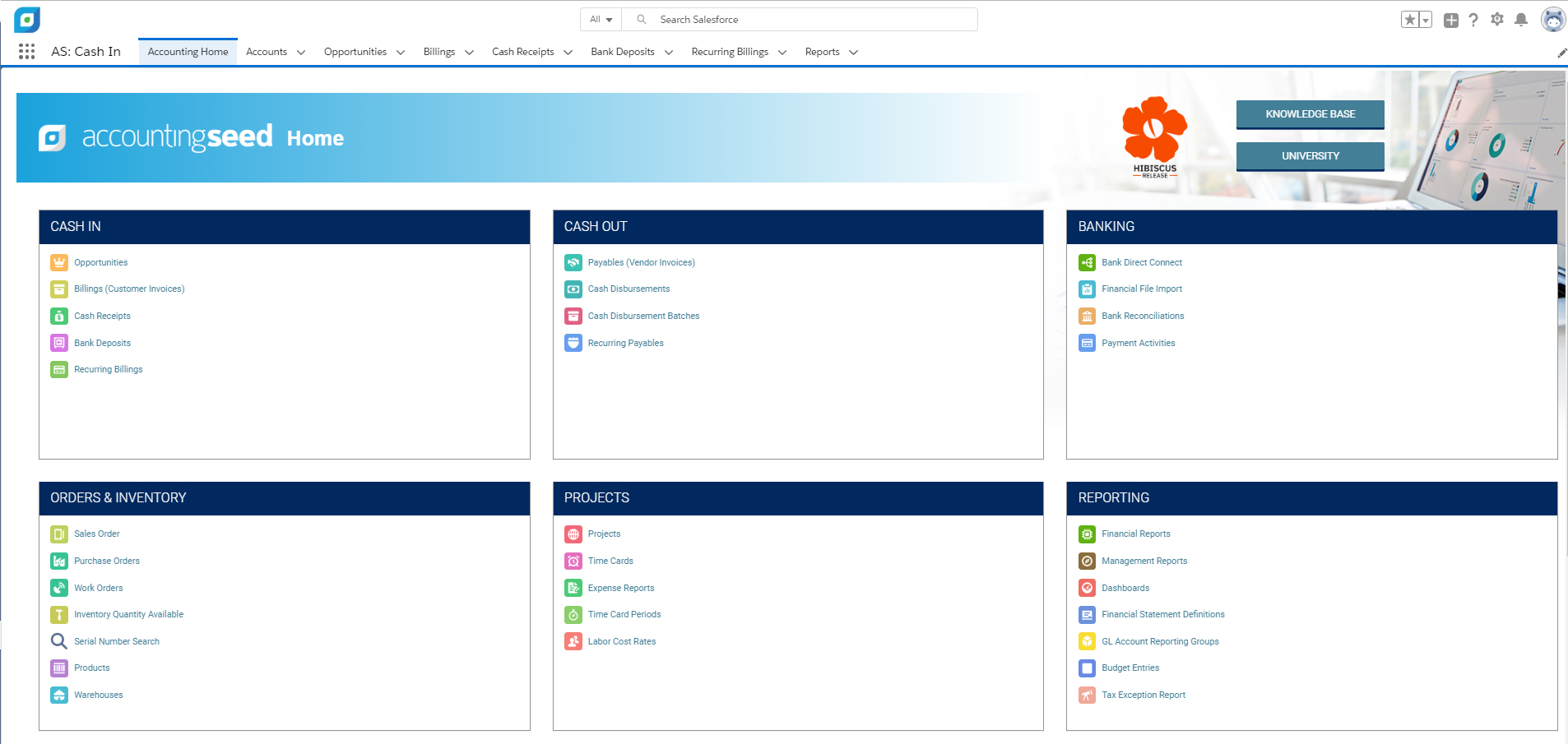 Accounting Seed's adaptable home screen allows for quick access to all daily accounting tasks and reporting needs, and can be customized per user!