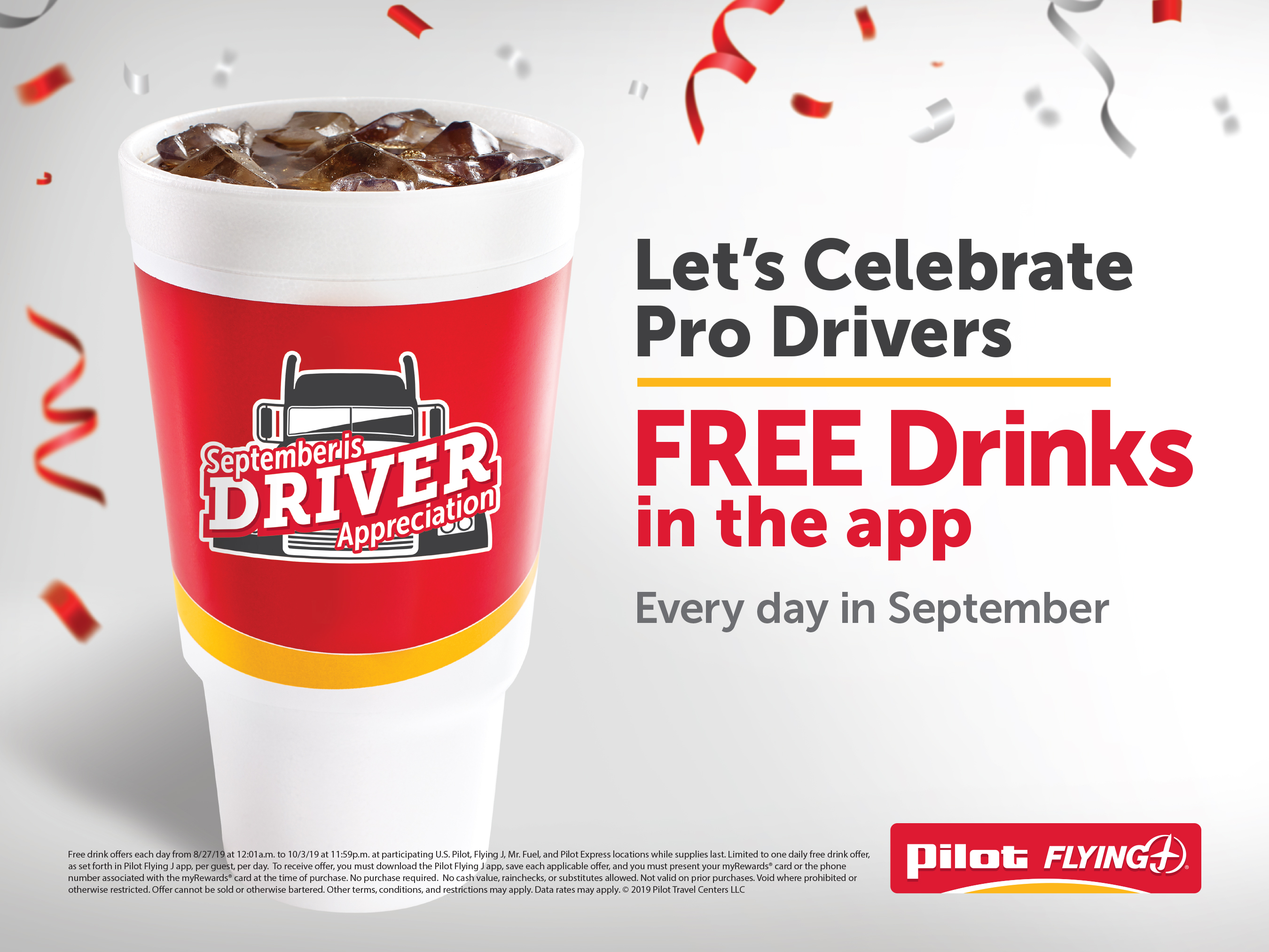 Download the Pilot Flying J app and get a free drink every day in September