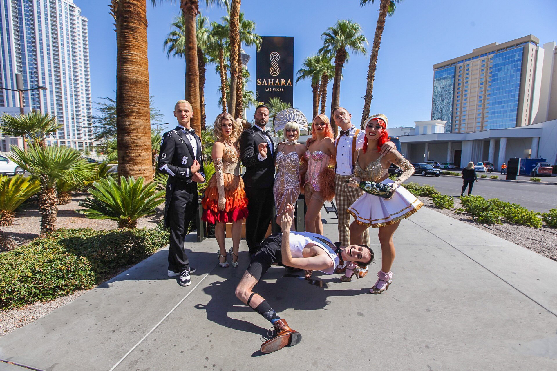 The cast of BLANC de BLANC toasts the all-new SAHARA Las Vegas celebrating the resort-casino's official transformation and iconic brand return.