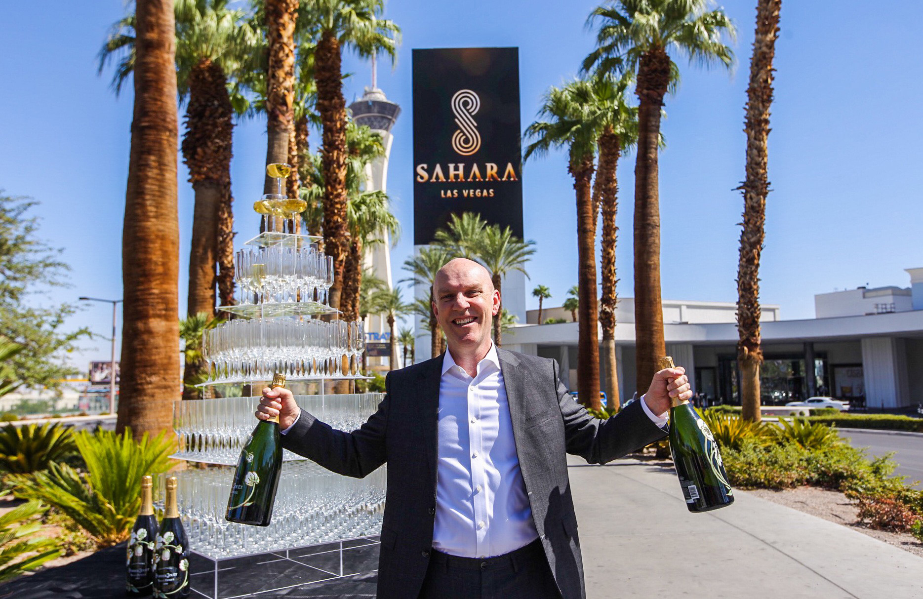 Senior vice president and general manager of SAHARA Las Vegas, Paul Hobson, celebrates the resort-casino's official transformation.