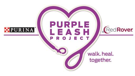 Purina is asking you to 'take the lead' for domestic violence survivors by snapping a picture while walking your pet, sharing it on social media using the hashtag #PurpleLeashProject, and tagging three friends to do the same.