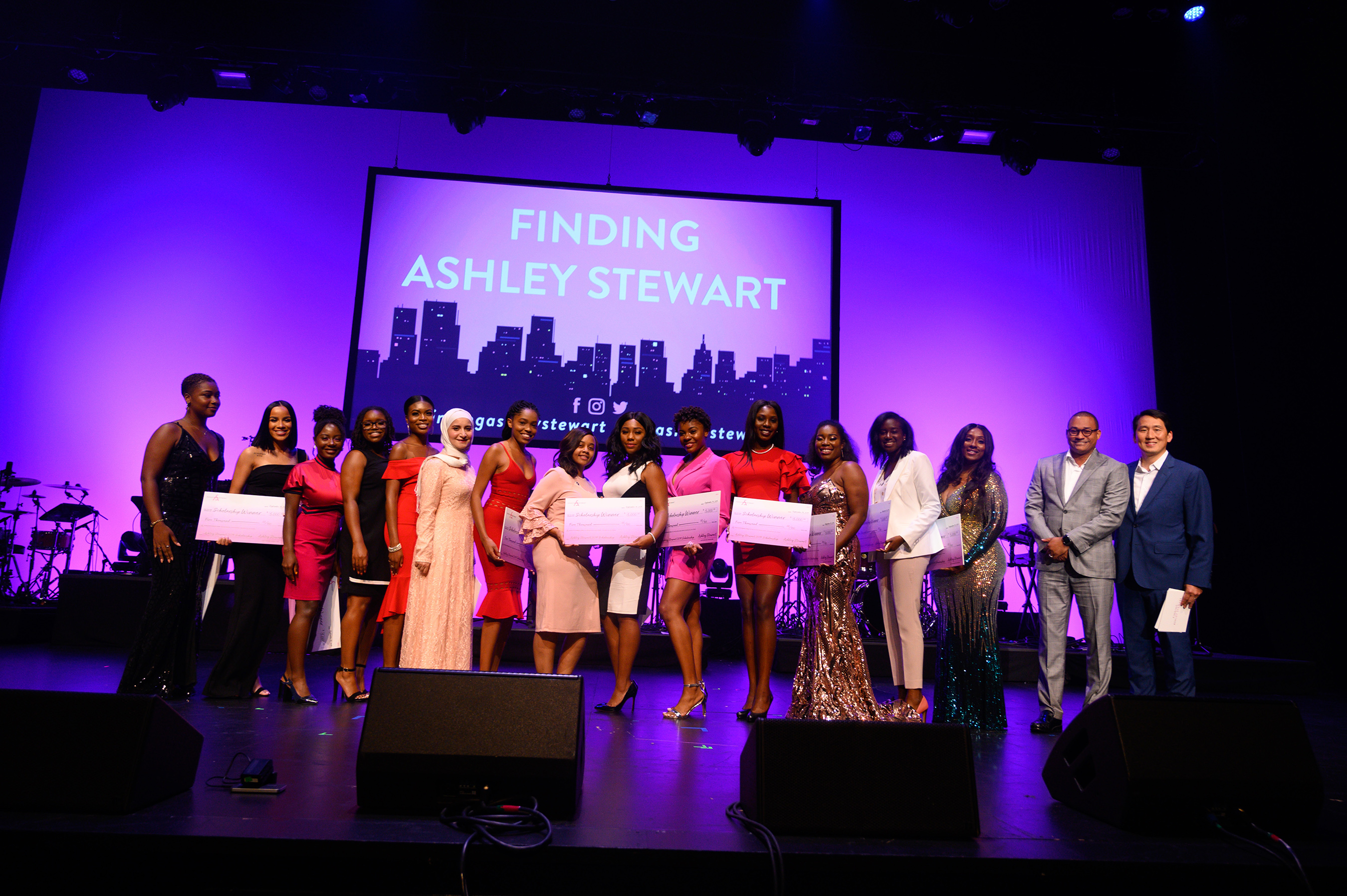 2019 Finding Ashley Stewart Scholarship winners with Sekou Kaalund, head of JPMorgan Chase & Co. Advancing Black Pathways and James Rhee, Chairman and CEO of Ashley Stewart