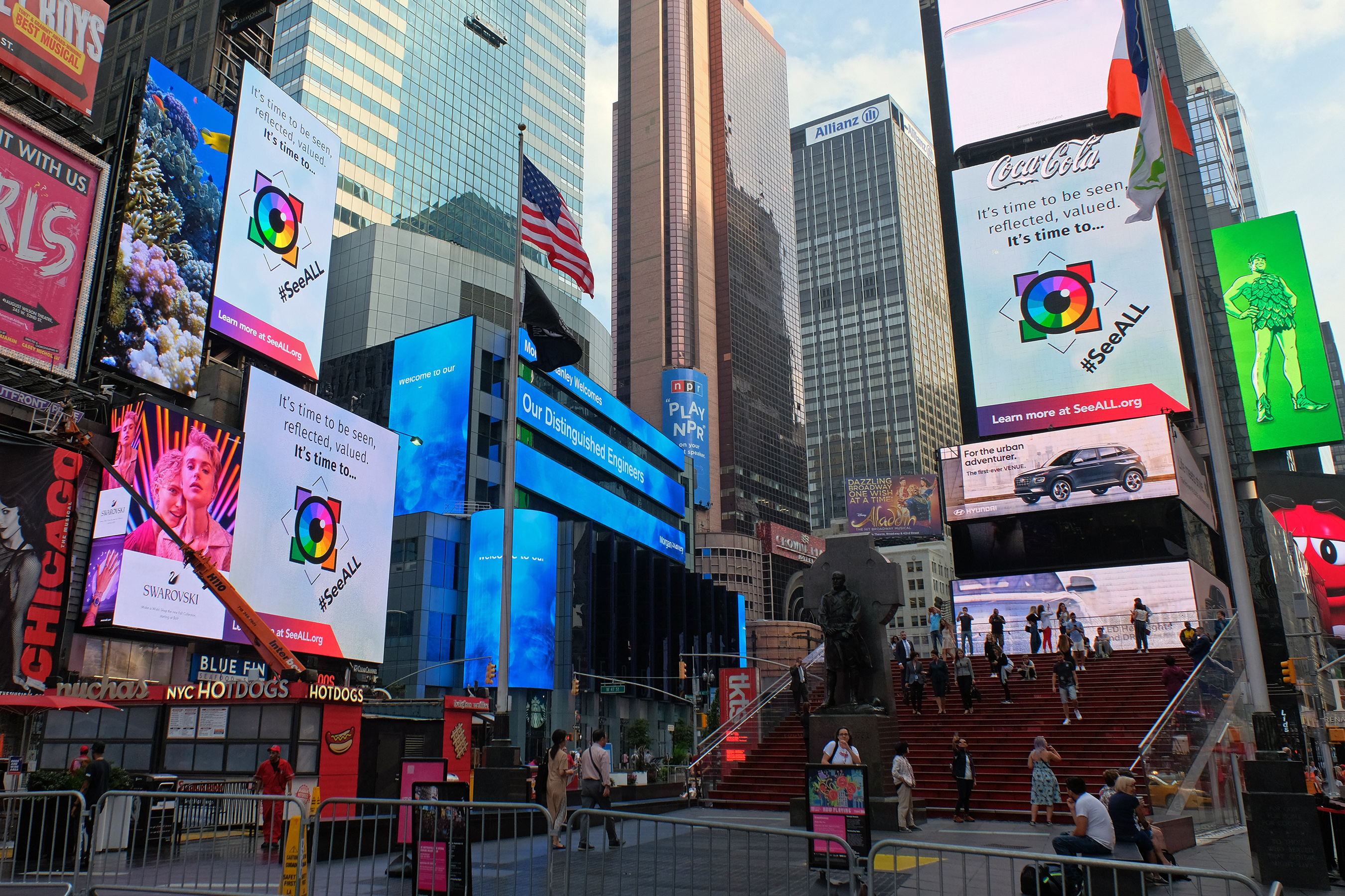 The Association of National Advertisers' (ANA) Alliance for Inclusive and MultiCultural Marketing (AIMM) launches #SeeALL campaign promoting greater diversity and cultural inclusion in brand advertising with a billboard takeover in NYC's Times Square on Monday, Sept. 23, 2019. Photo Credit: AP Images for Alliance for Inclusive and Multicultural Marketing (AIMM)