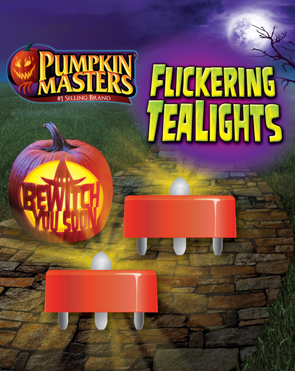 Pumpkin Masters battery-operated Flickering Tealights enable everyone to light up their carved pumpkins safely.
