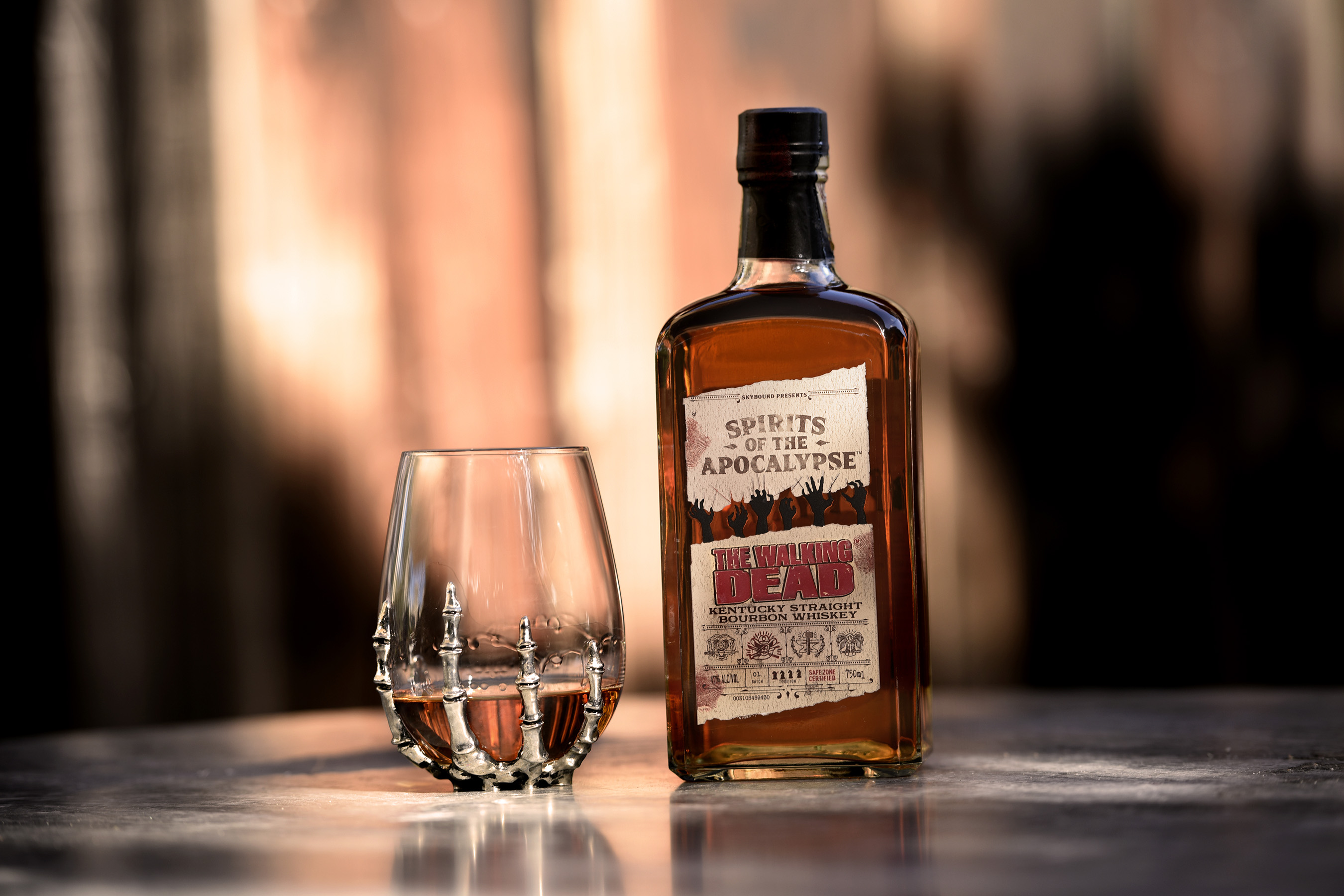LIMITED EDITION The Walking Dead Kentucky Straight Bourbon Whiskey served neat in a stemless skeleton hand glass.
