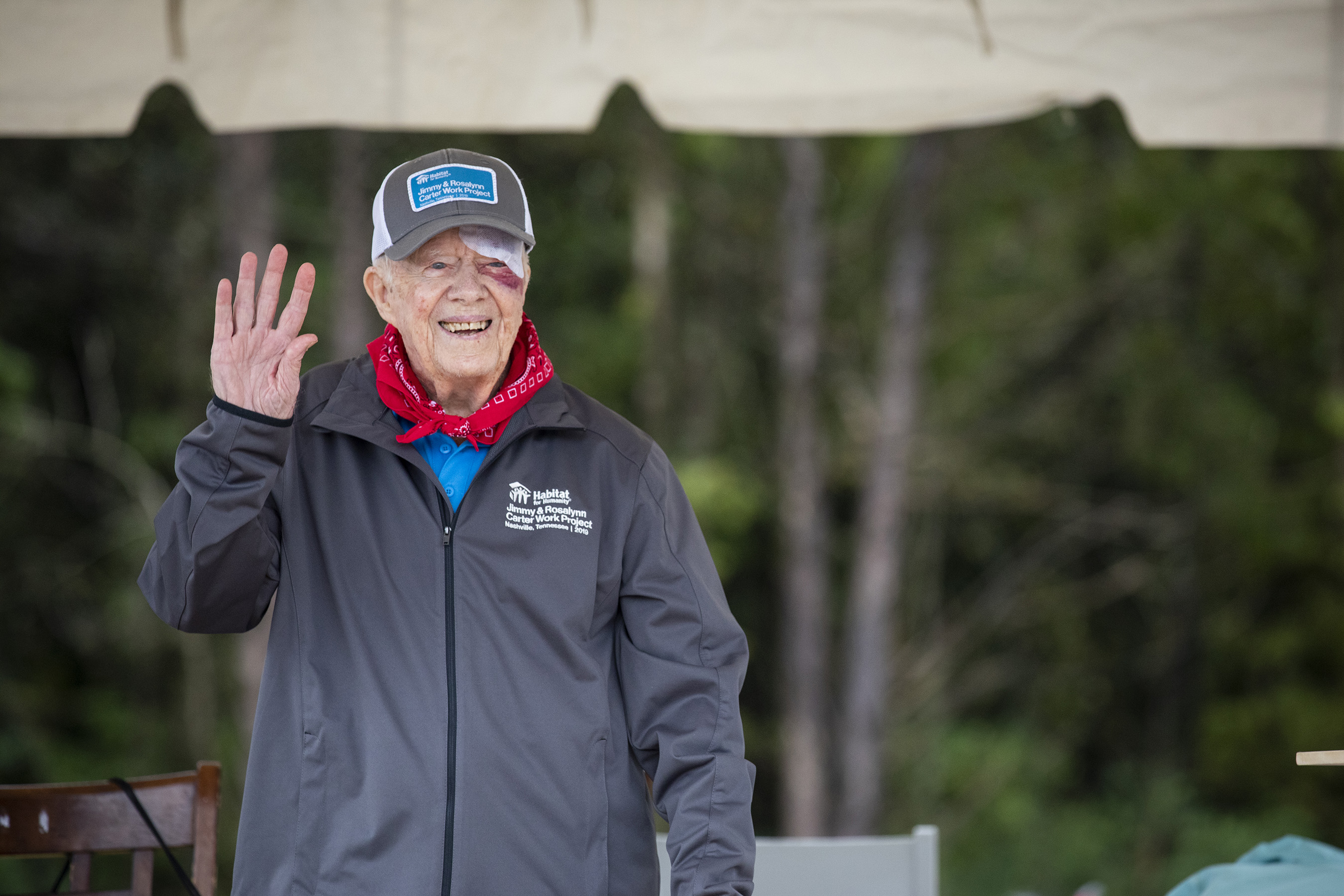 Former U.S. President Jimmy Carter begins work at a Habitat for Humanity build site in Nashville on Monday, Oct. 7. The former president has volunteered alongside his wife, former First Lady Rosalynn Carter, with Habitat since 1984.