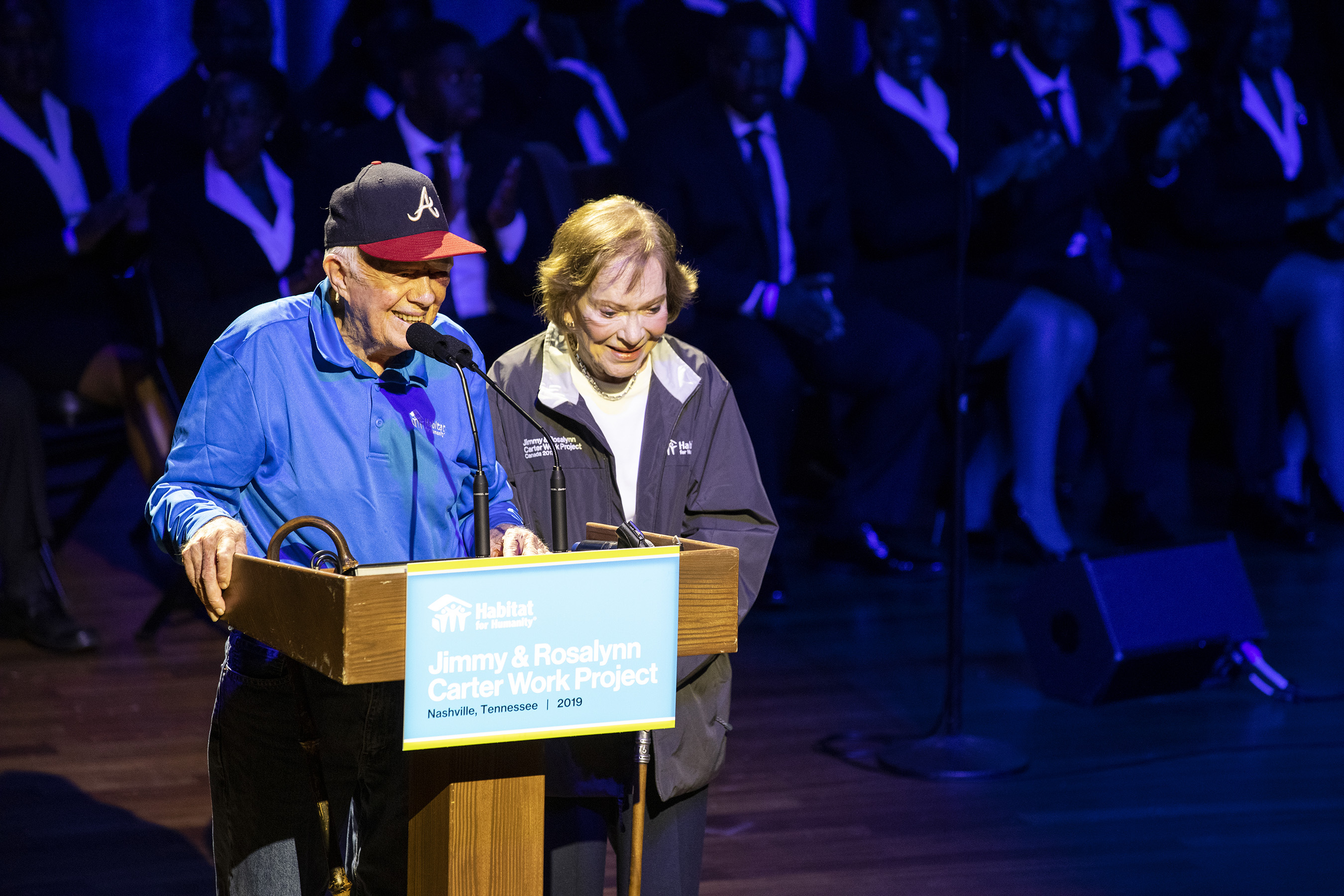 Former President Jimmy Carter and former First Lady Rosalynn Carter speak at the opening ceremony of the 36th Habitat for Humanity Jimmy & Rosalynn Carter Work Project in Nashville on Sunday, Oct. 6.