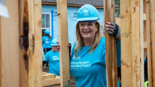 Country music superstar and Habitat Humanitarian Trisha Yearwood raises a wall on a new Habitat for Humanity home in Nashville, as part of the 36th Jimmy & Rosalynn Carter Work Project in Nashville on Monday, Oct. 7.