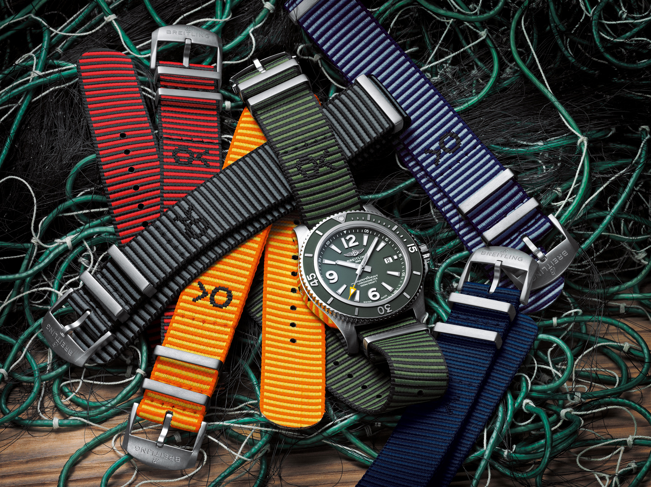 The Breitling Superocean Automatic 44 Outerknown and sustainable Outerknown ECONYL® NATO strap collection.