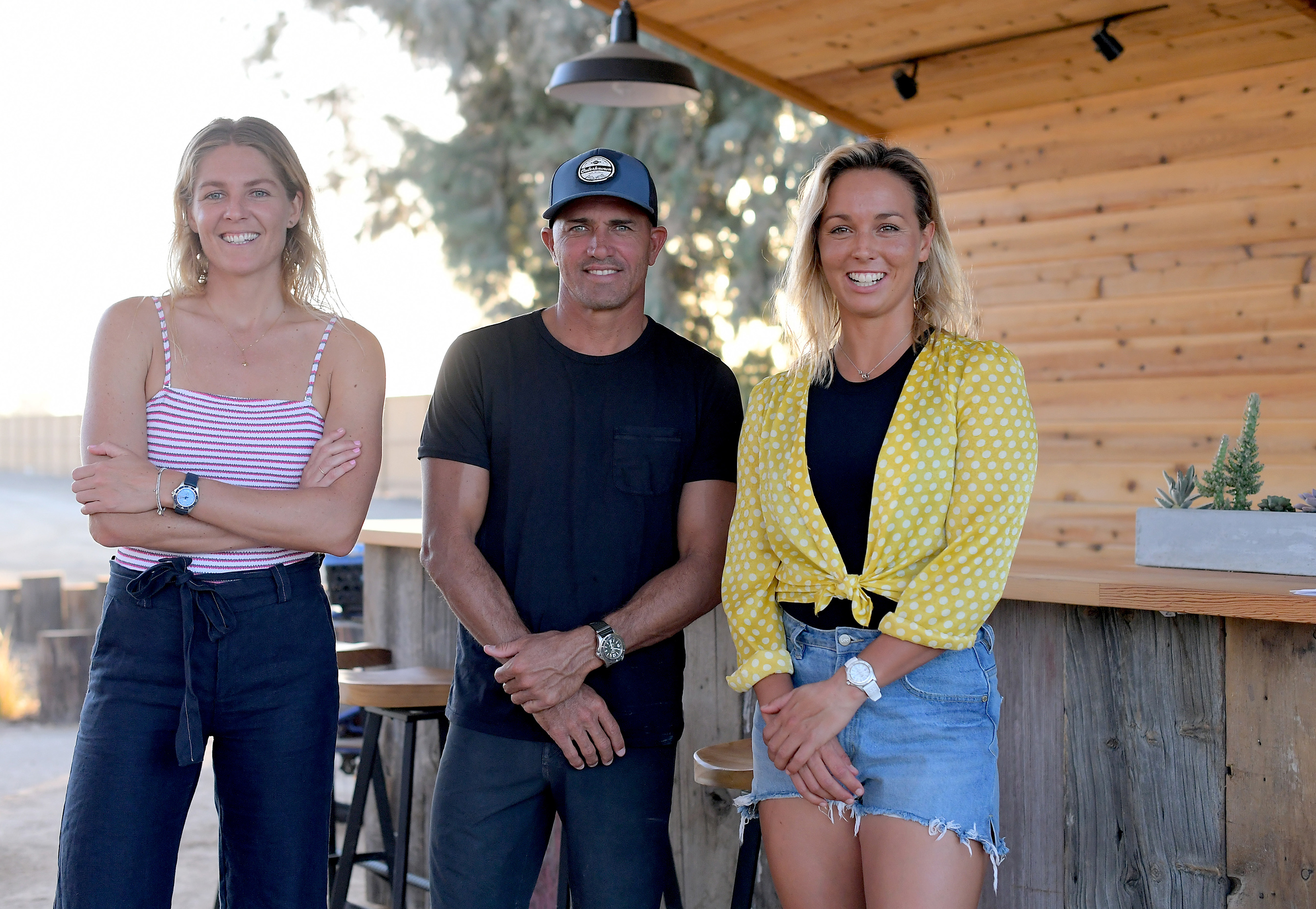 Breitling Surfers Squad Members Stephanie Gilmore, Kelly Slater and Sally Fitzgibbons at the Surf Ranch in Leemore, California.
