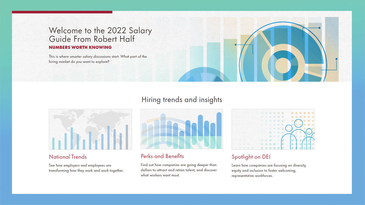 The 2022 Salary Guide from Robert Half features valuable data and insights on trends in employment; perks and benefits; and diversity, equity and inclusion.